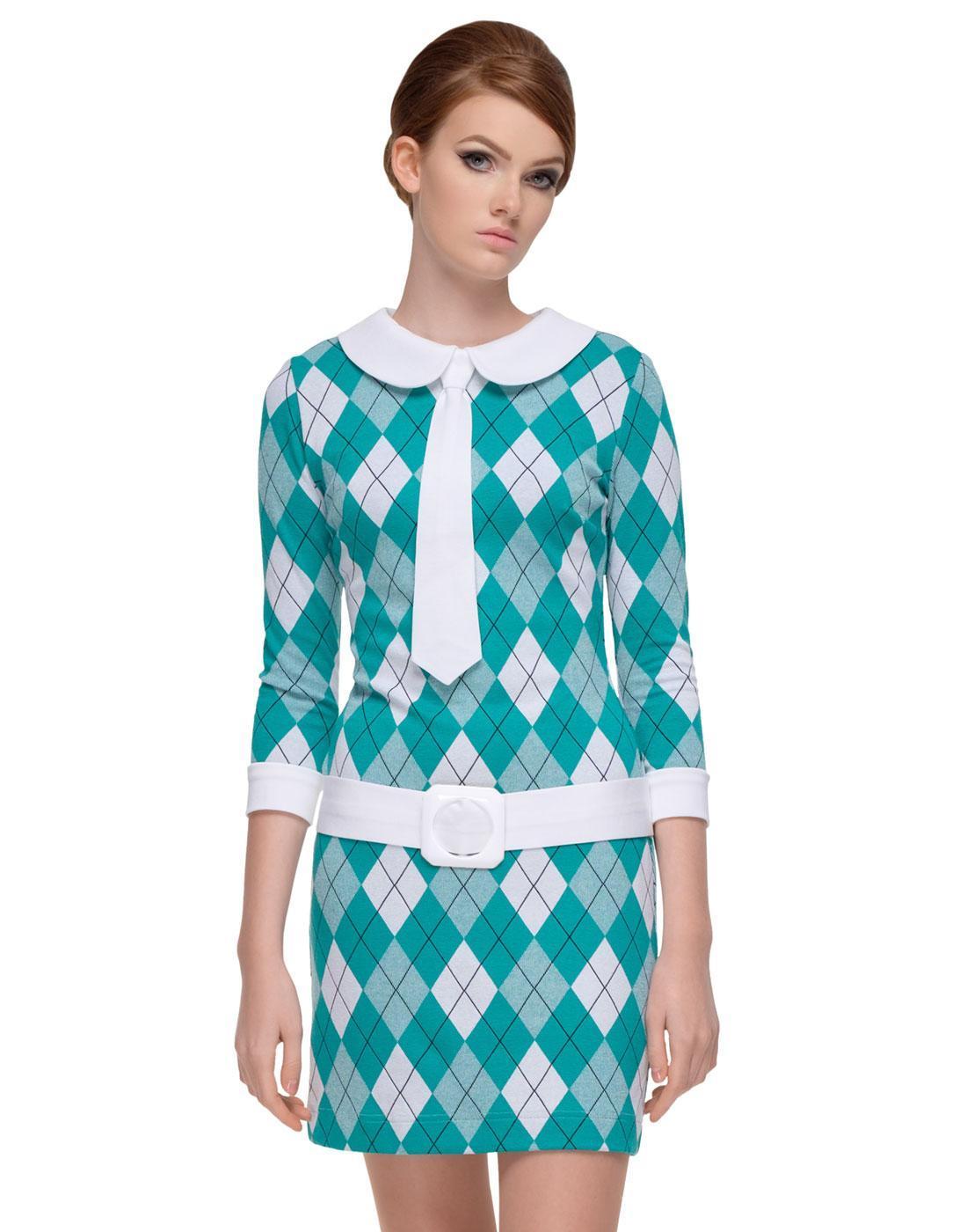 MARMALADE Retro 60s Argyle Mod Tie Dress Green