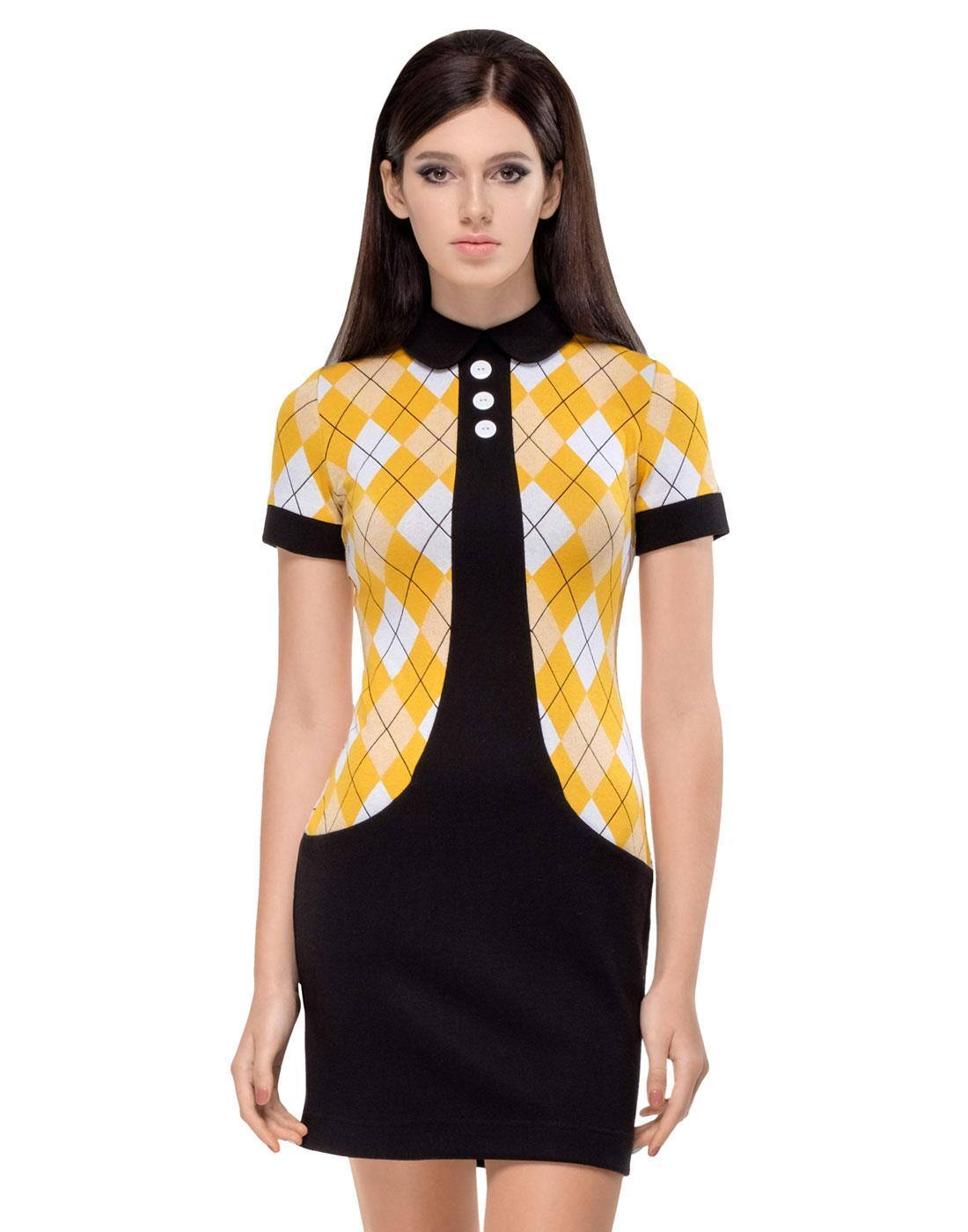 MARMALADE Retro Yellow Argyle Mod Sixties Dress