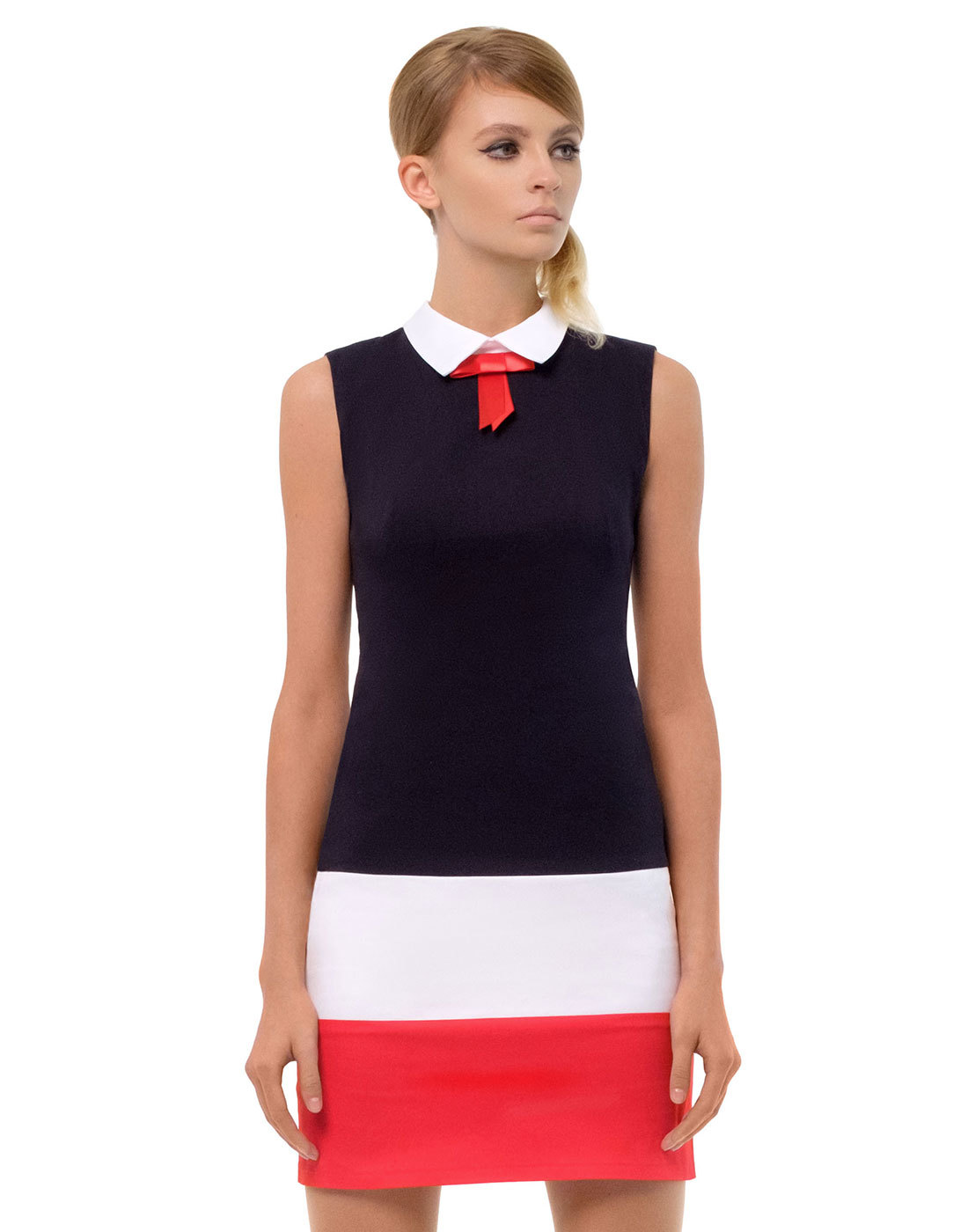 MARMALADE Retro 60s Bow Collar Mod Mini Dress