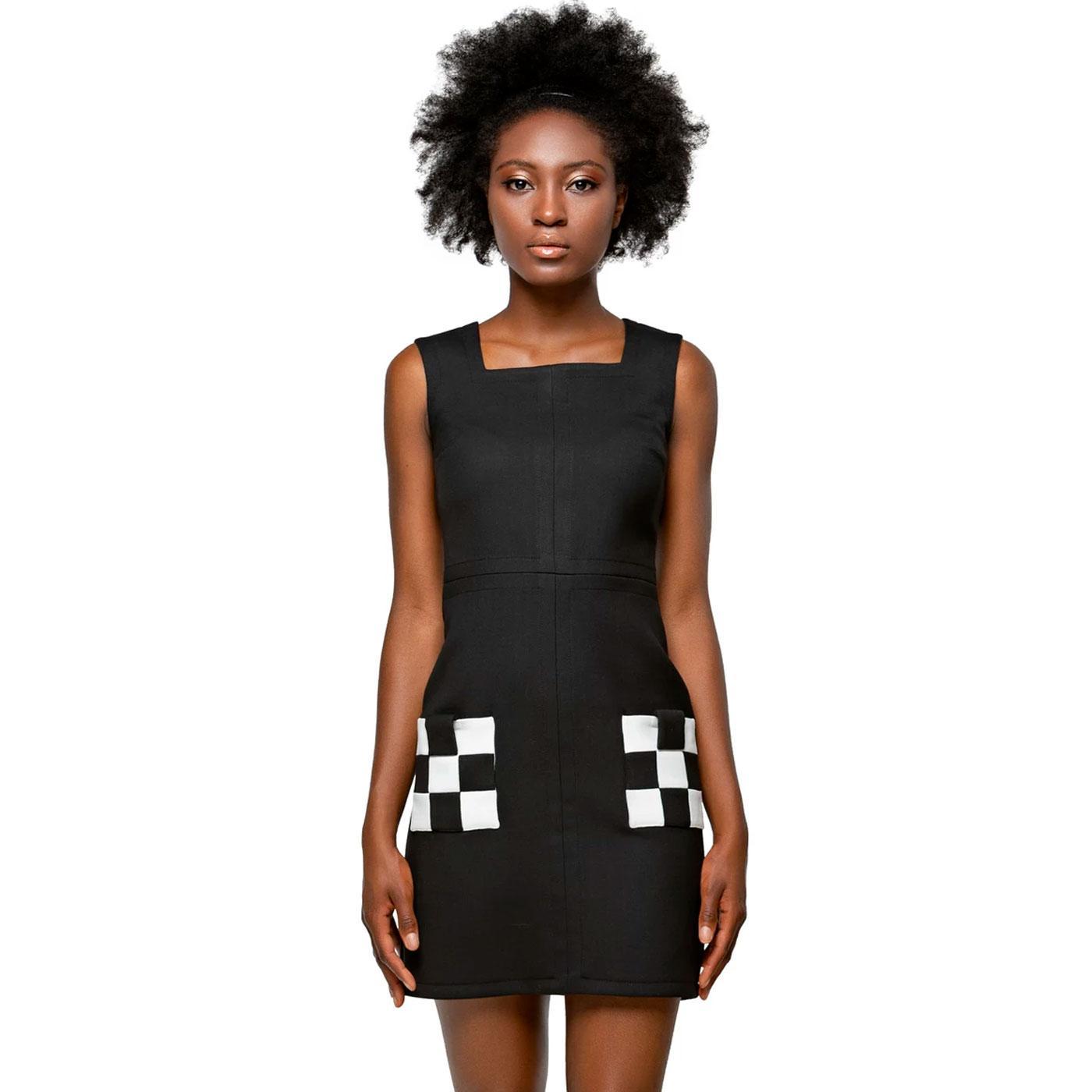 MARMALADE Square Neckline Ska Checkerboard Dress
