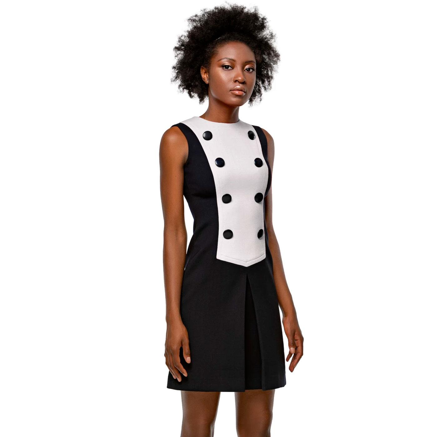 MARMALADE Button Front Two Tone Dress In Cream
