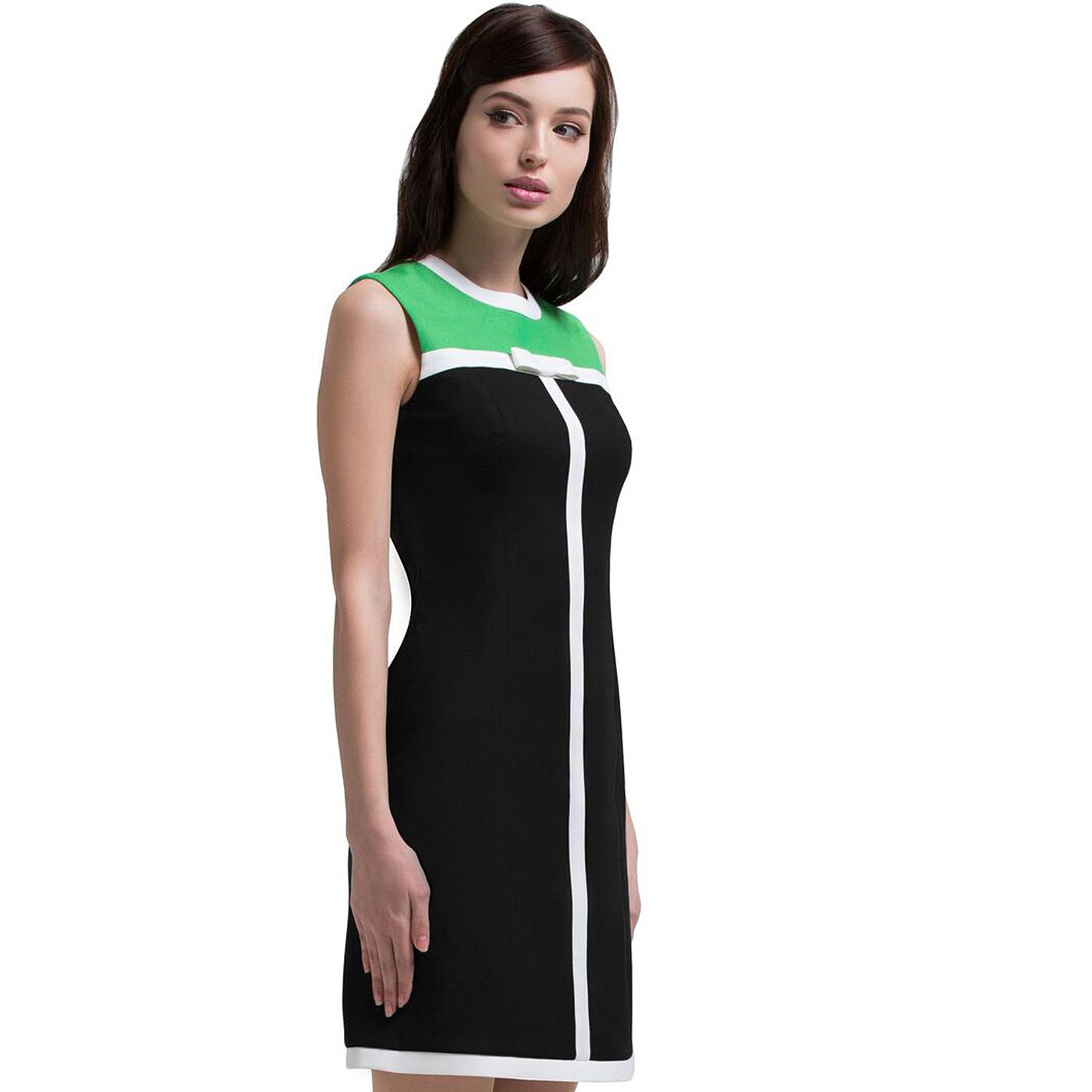 MARMALADE Retro 60s Mod Bow Dress in Black/Green