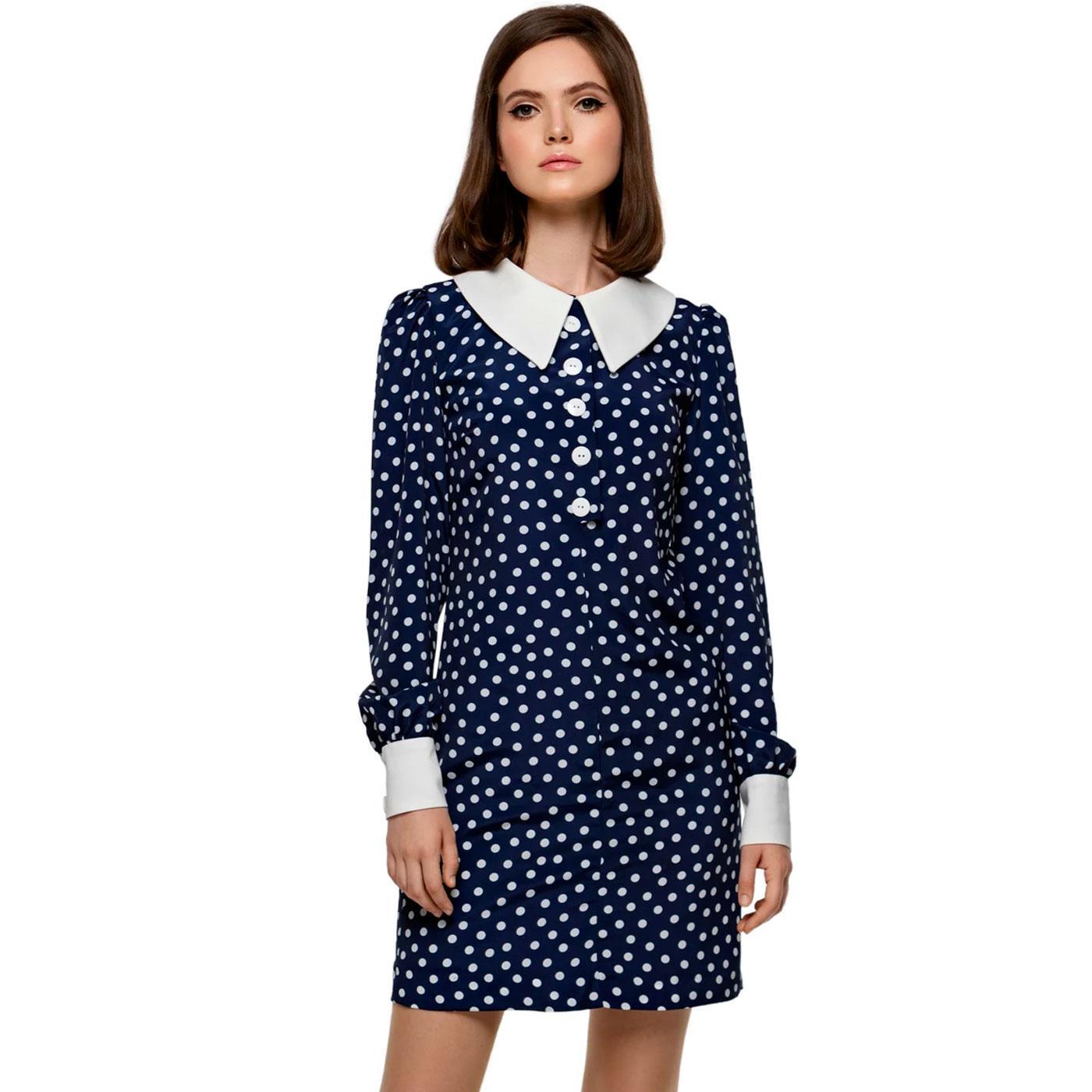 MARMALADE Retro Polka Dot Shift Dress - Navy/White