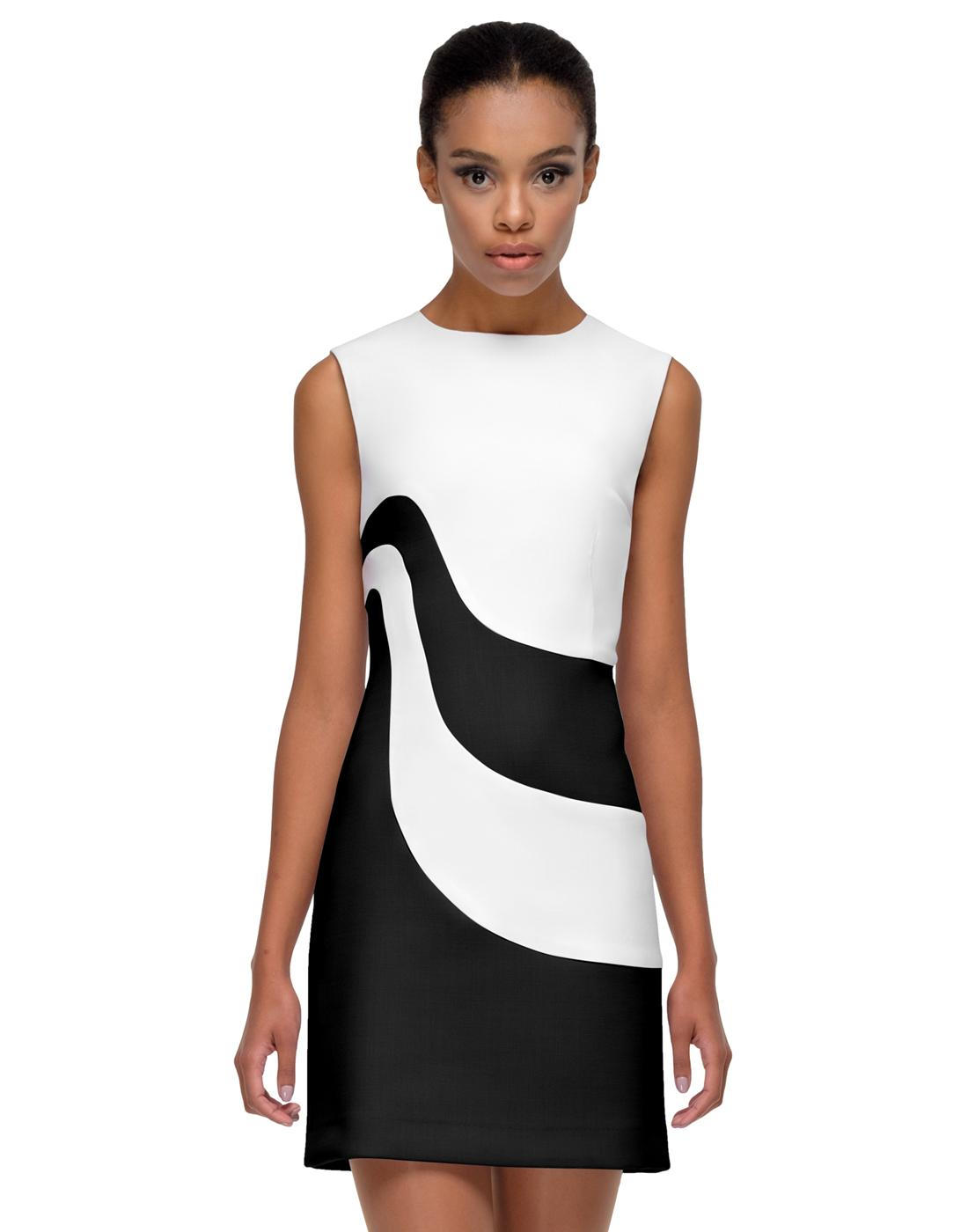 MARMALADE Retro 60s Mod Swoosh Dress in Black