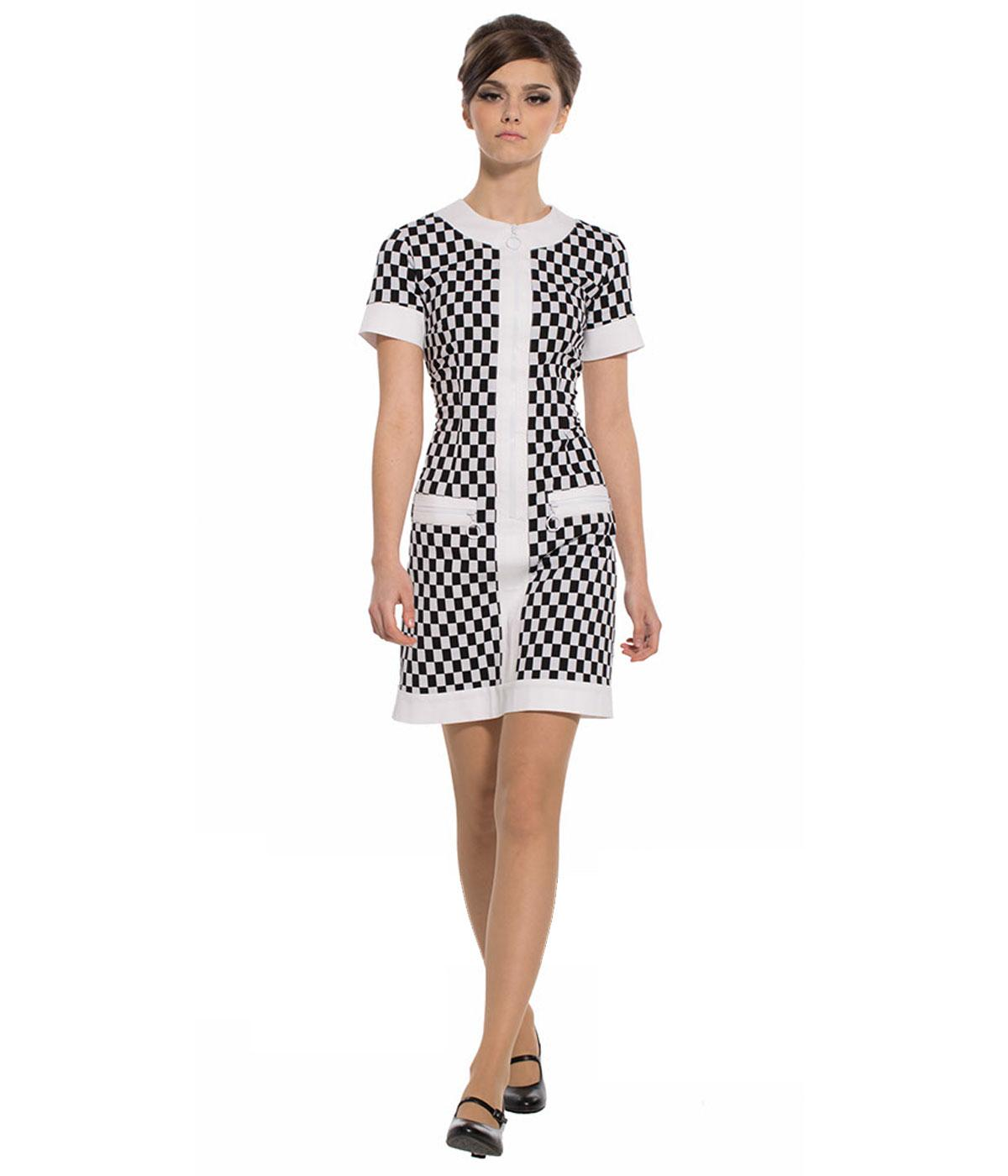 MARMALADE Retro 60s Mod Zip Front Checker Dress with Pockets