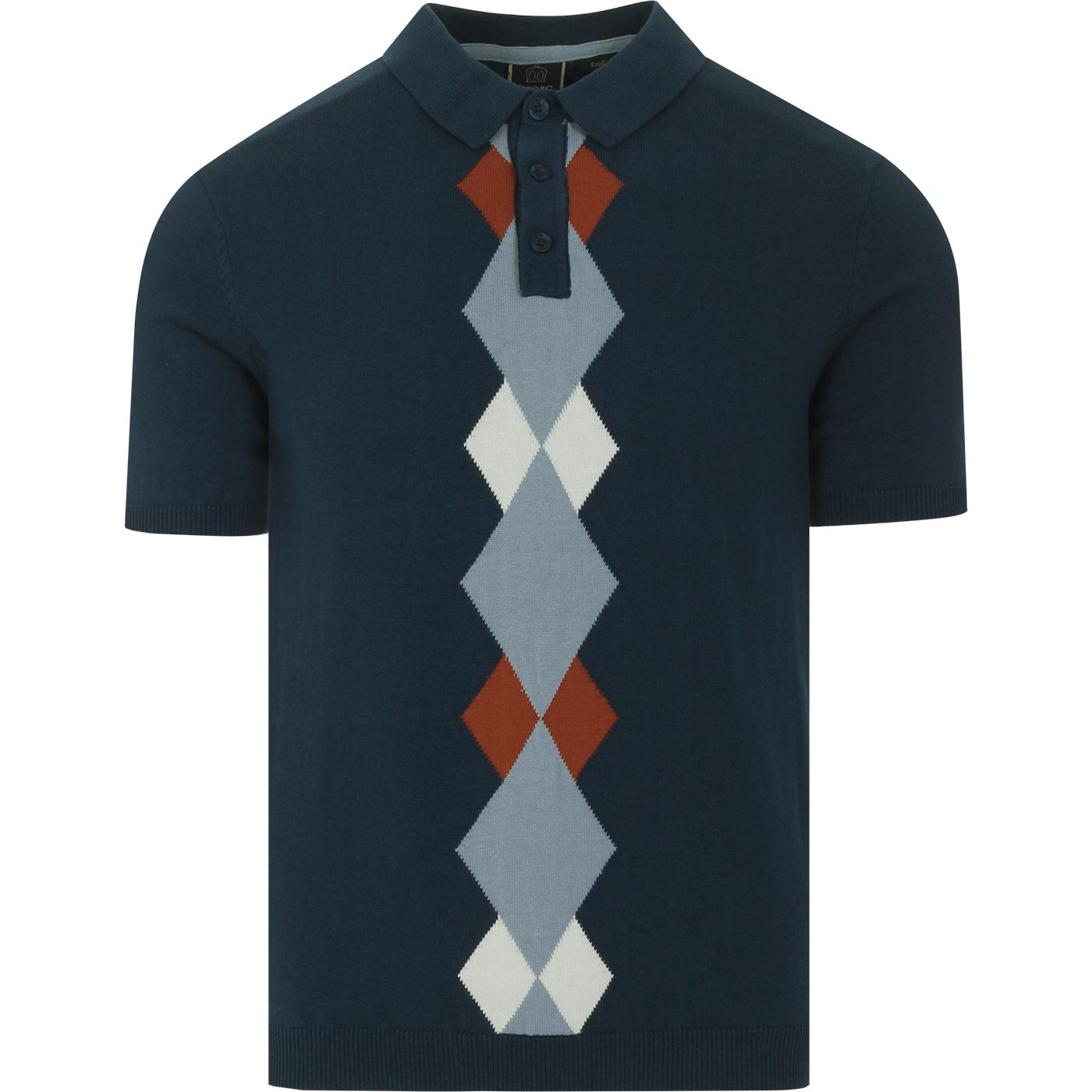 Ansell MERC 60s Mod Argyle Panel Knit Polo Top DS