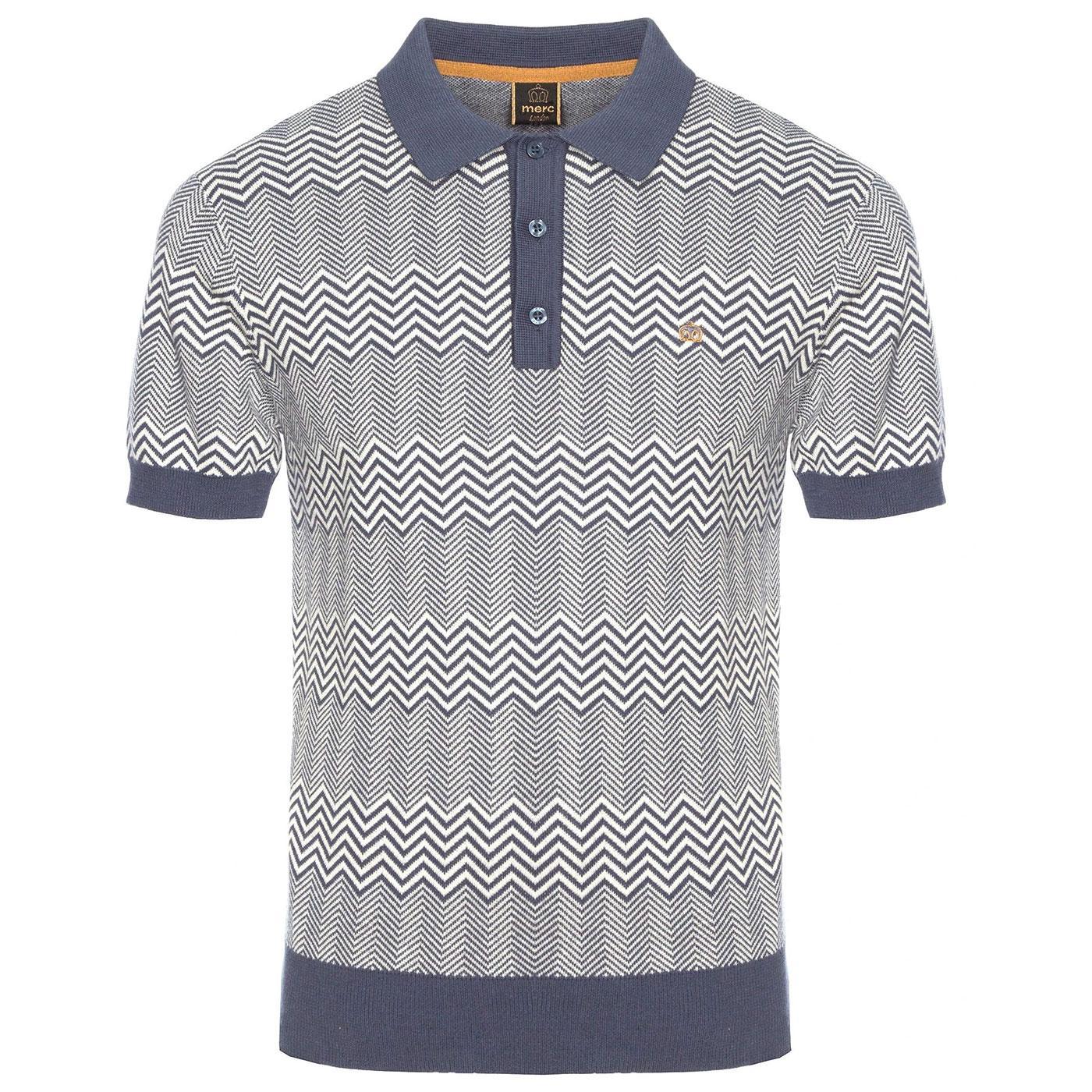 Bennard MERC Retro Mod Knitted Polo in Slate Blue