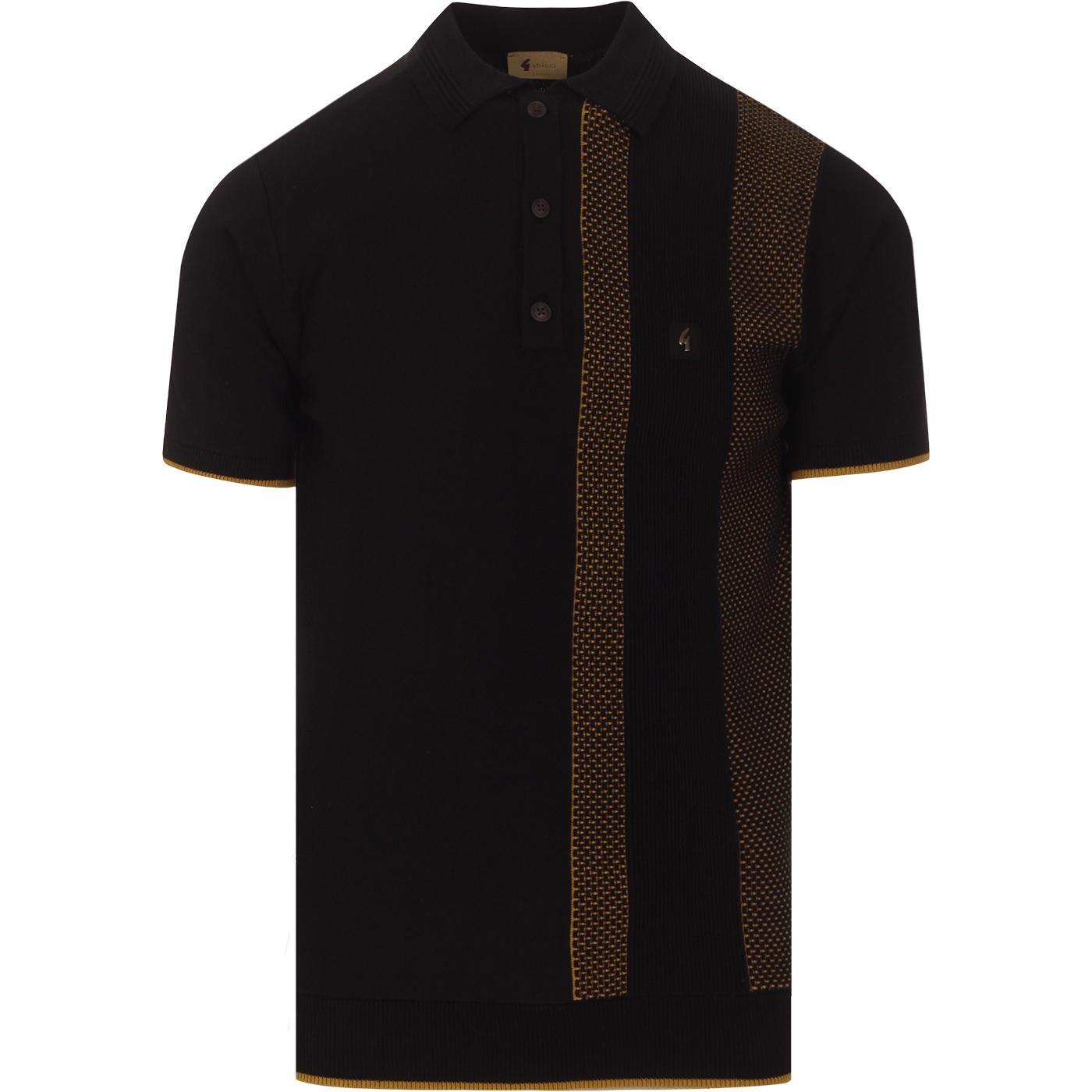 Cariboo GABICCI VINTAGE Mod Rib Knit Polo (Black)