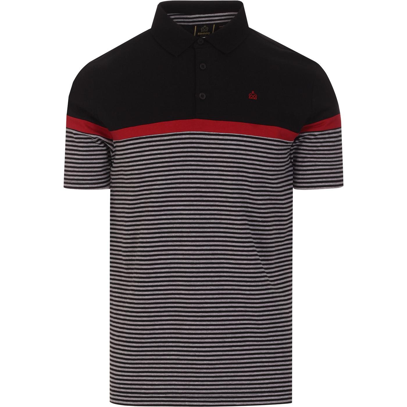 Clarence MERC Retro Mod Stripe Panel Polo Top (B)