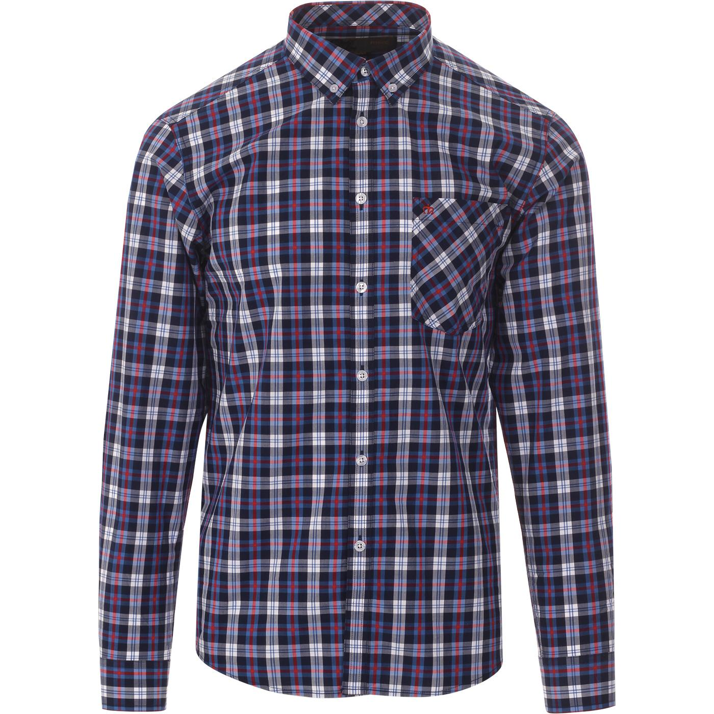 Cornhill MERC Mod Button Down Check Shirt (Blue)