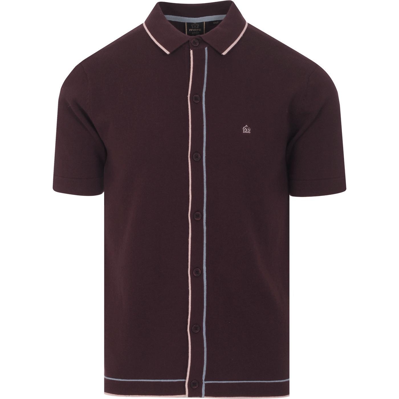 Devon MERC Mod Tipped Knit Button Through Polo Top