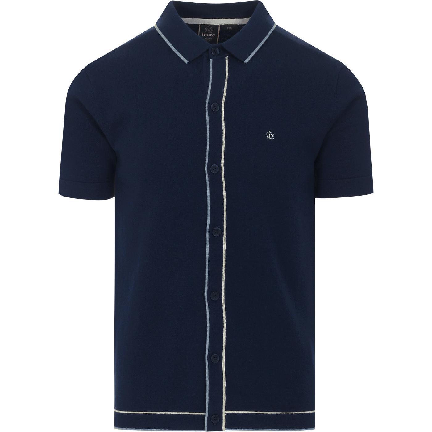 Devon MERC Mod Tipped Knit Button Through Polo (N)