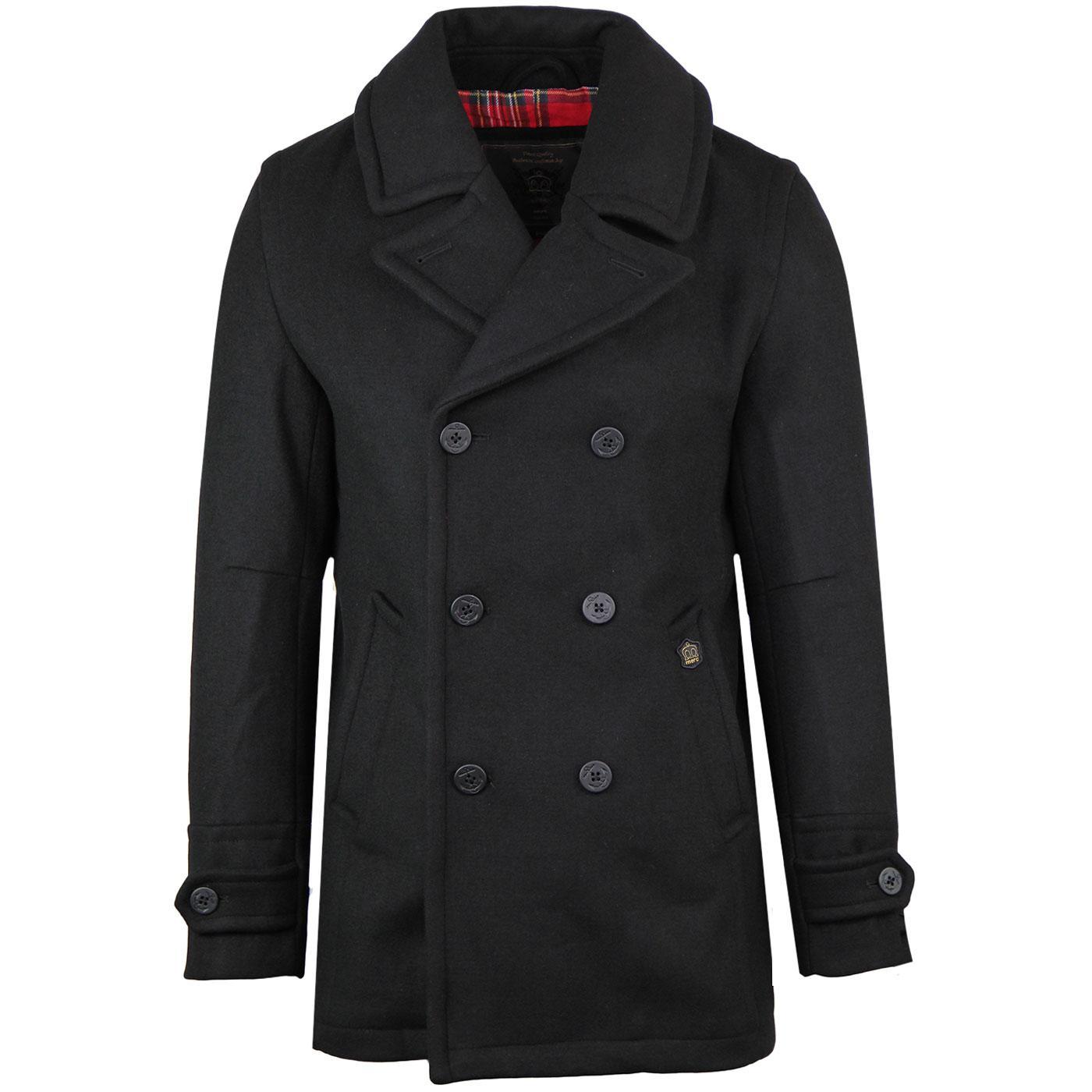 Doyle MERC Mod Tartan Lined Melton Pea Coat BLACK