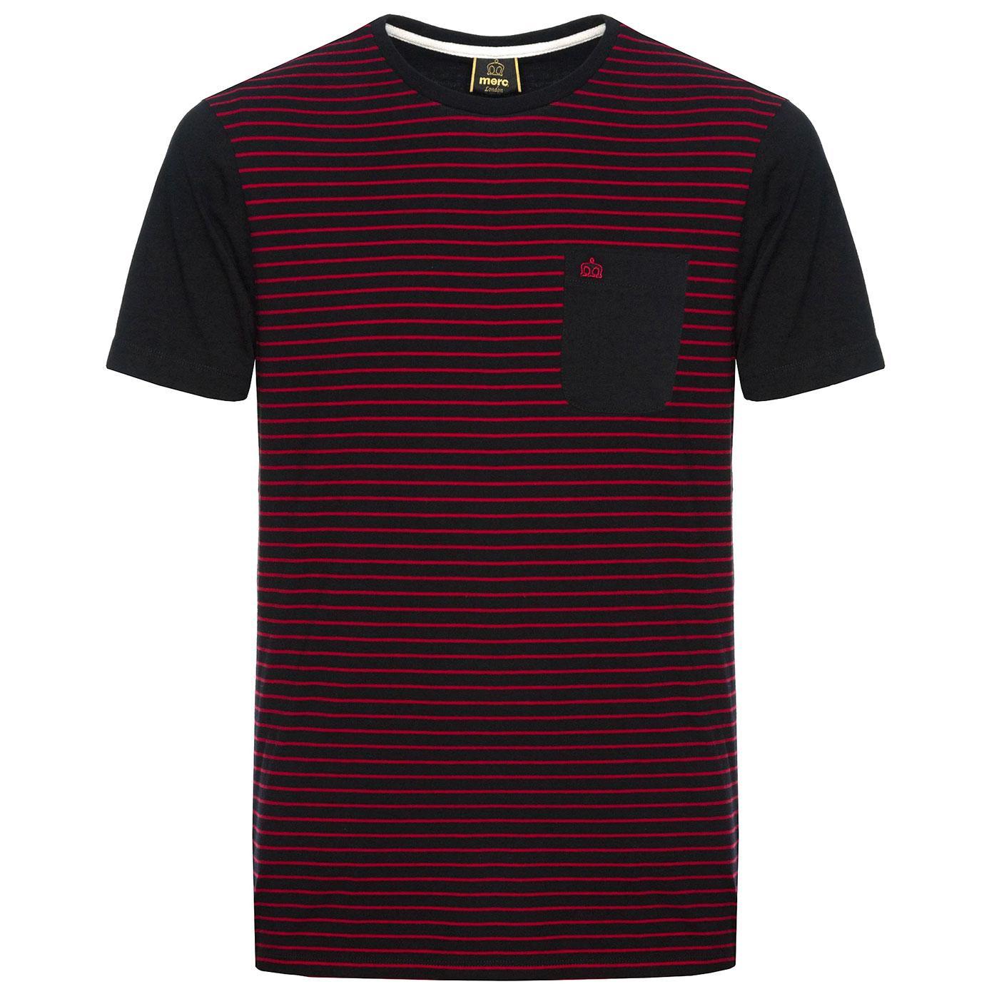 Eaton MERC Retro 70s Fine Stripe T-Shirt in Black