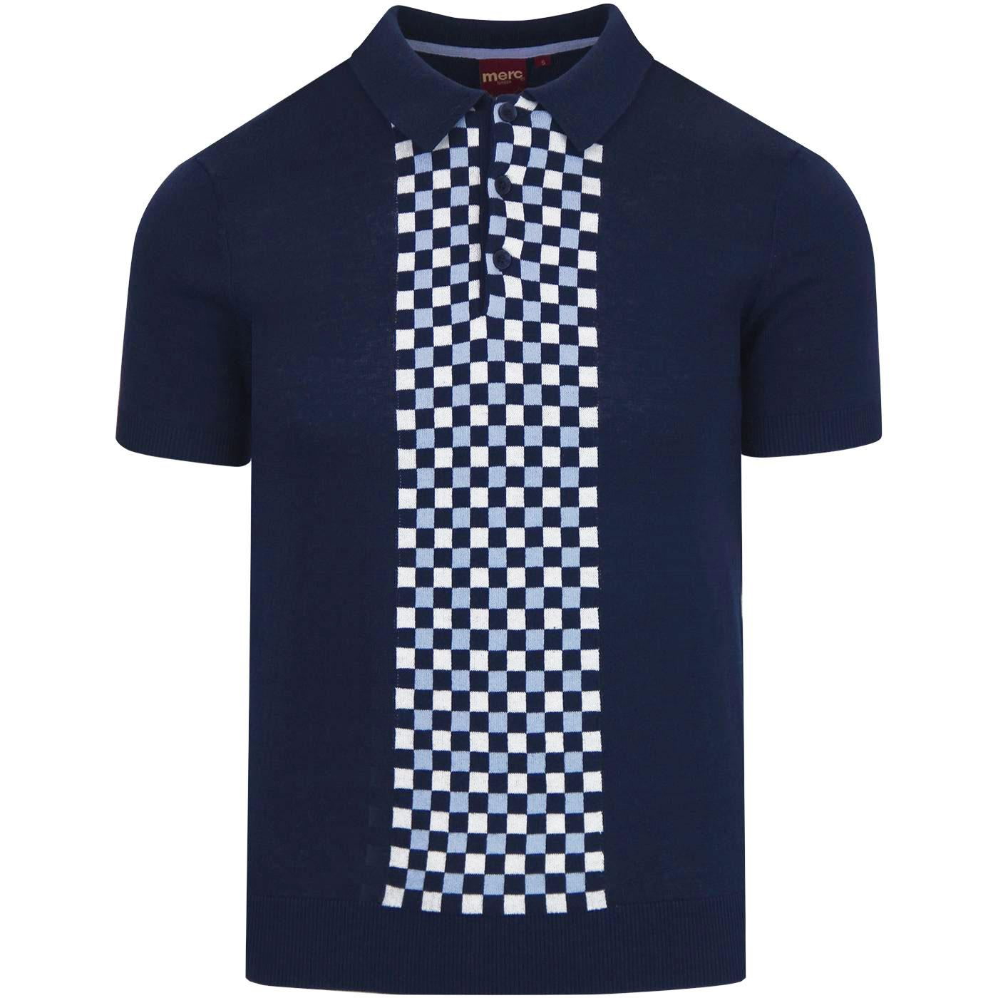 Jarvis MERC 60s Mod Checkerboard Knit Polo (Navy)