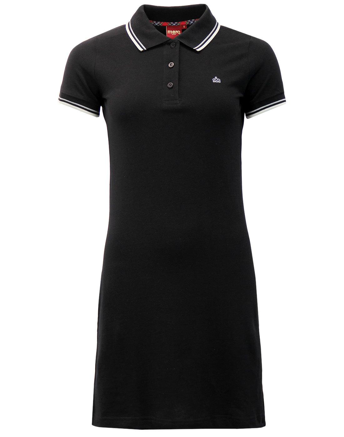 Kara MERC Retro Mod Tipped Pique Polo Dress BLACK