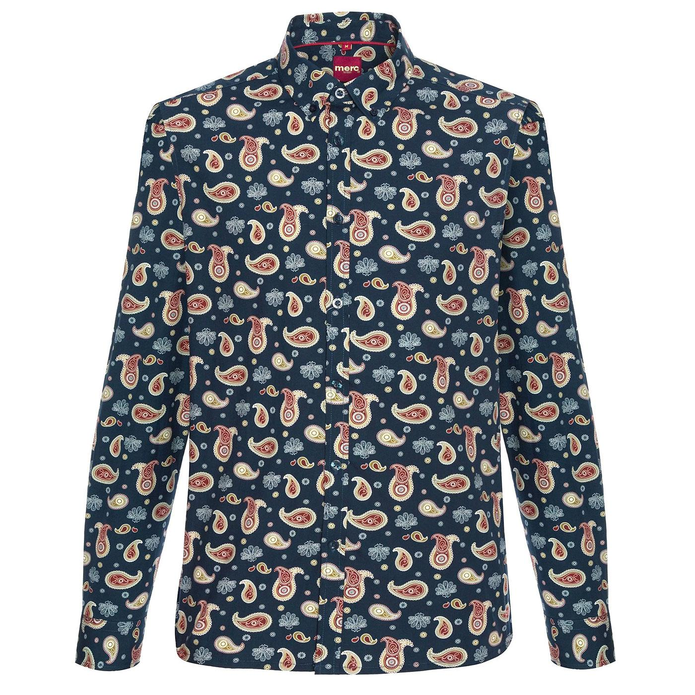 Keane MERC Retro Mod 60s Paisley Shirt in Navy