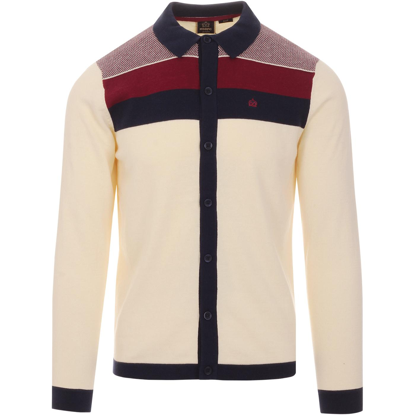 Keble MERC Retro Mod Block Panel Polo Cardigan (C)