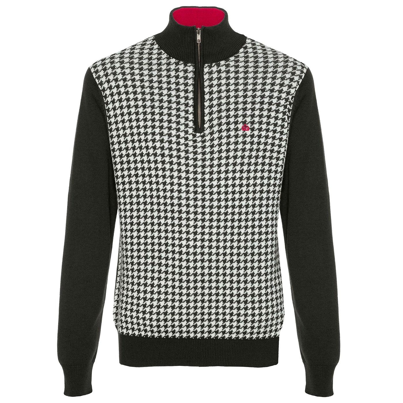 Lockhill MERC Retro Mod Dogtooth Knitted Zip Top B
