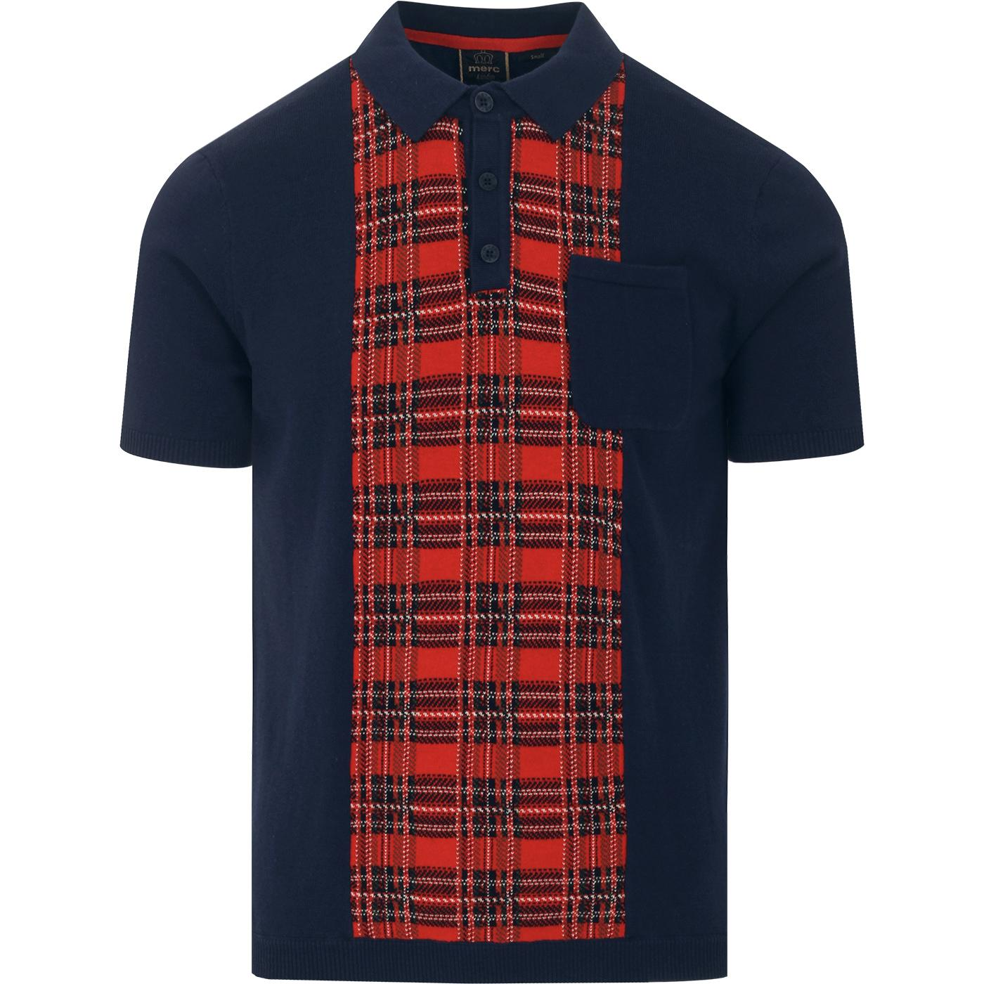Luna MERC Retro Mod Tartan Panel Knit Polo Top (N)