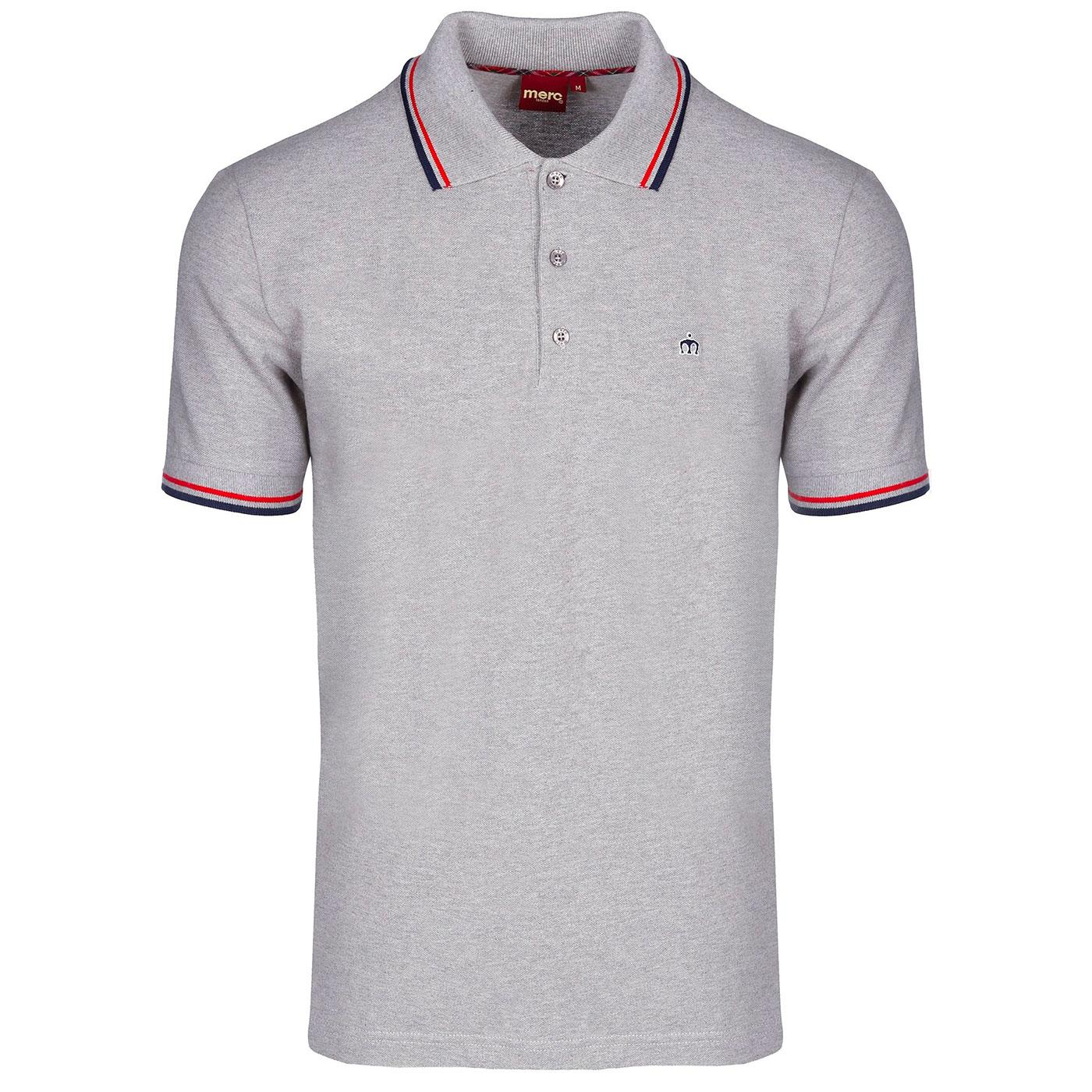 Card MERC Mod Retro Mens Tipped Pique Polo - Grey