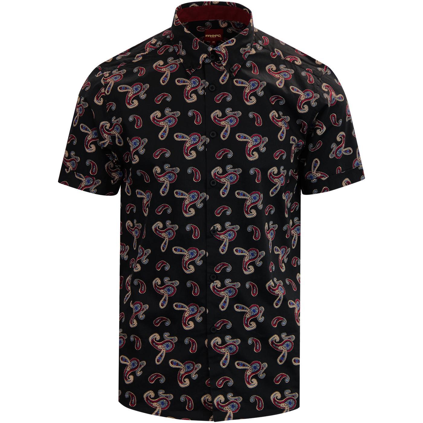 Neal MERC Retro 60s Mod S/S Paisley Shirt BLACK