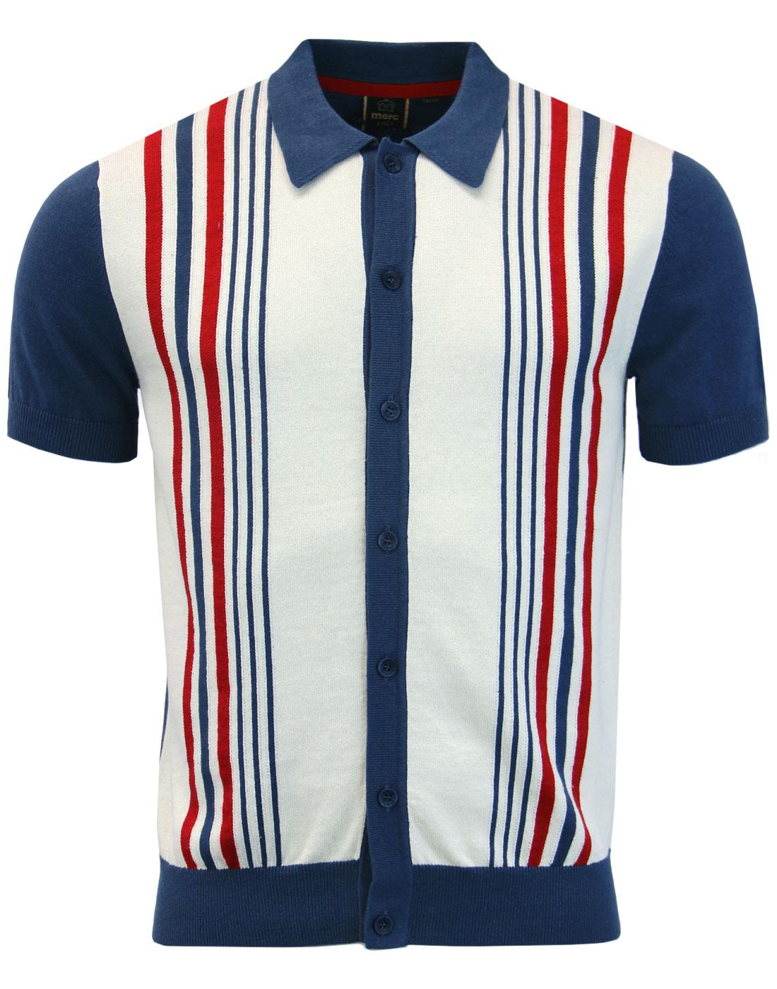 Nutley MERC 60s Mod Stripe Knit Polo Cardigan BLUE