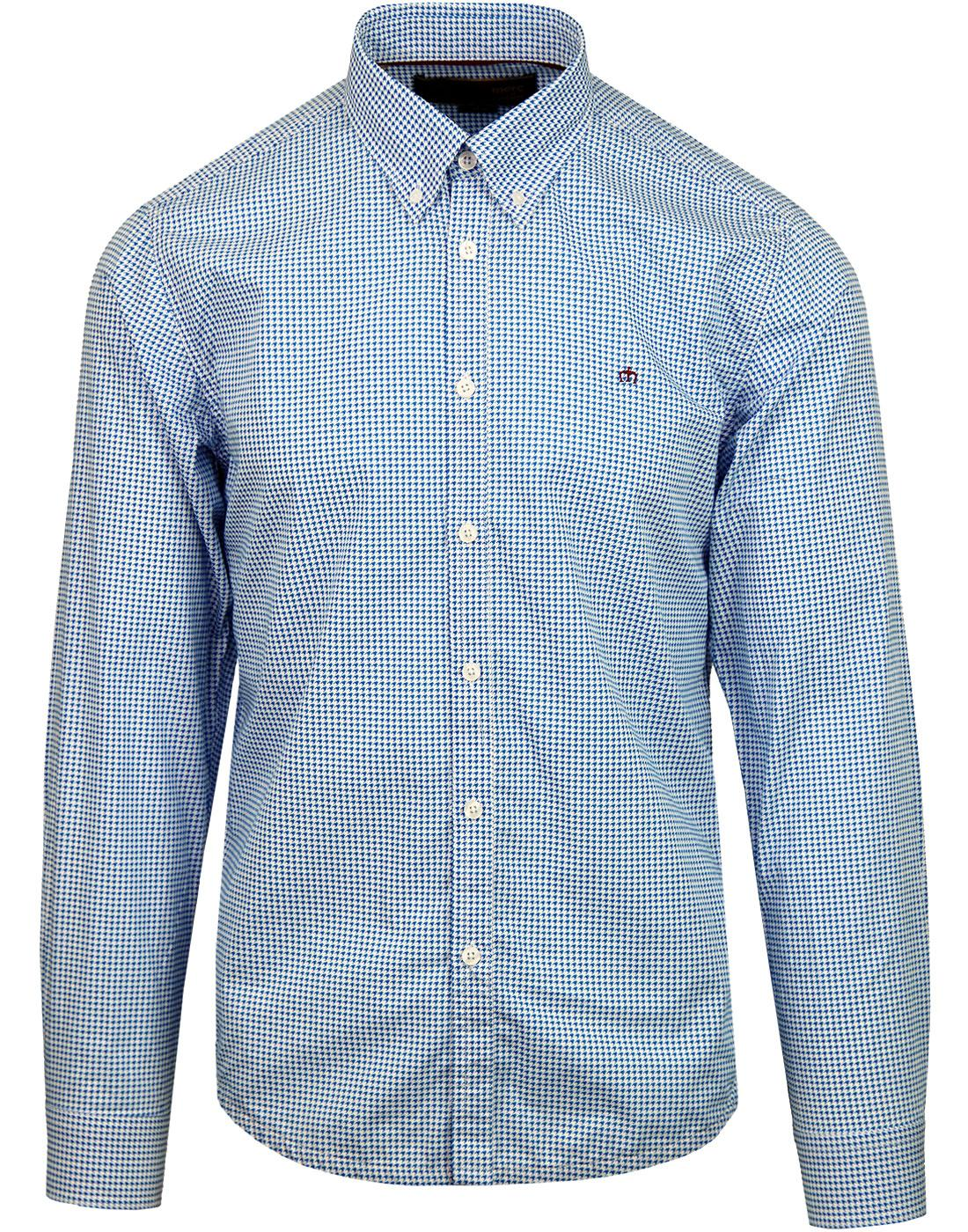 Shooter MERC Retro 2-Tone Mod Dogtooth Shirt BLUE