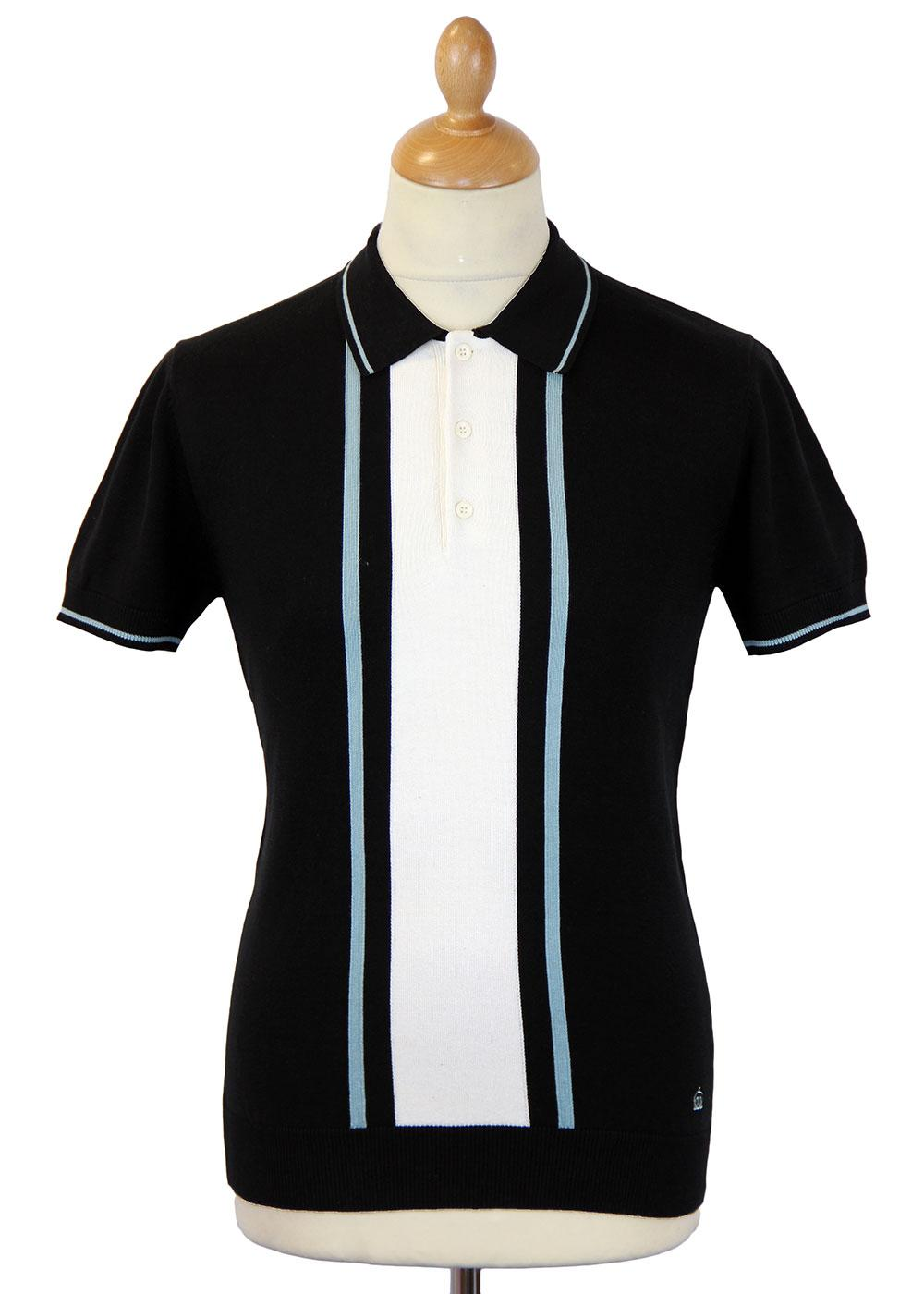 Merc bedford retro 60s mod stripe panel knitted polo black for Knitted polo shirt mens