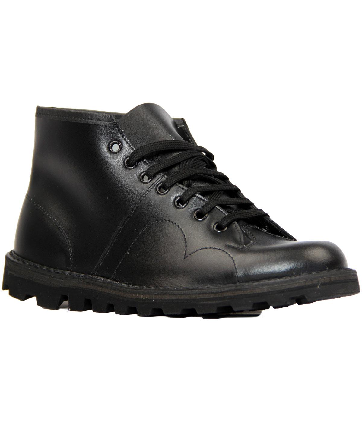 Retro Mod Smooth Leather Monkey Boots (Black)