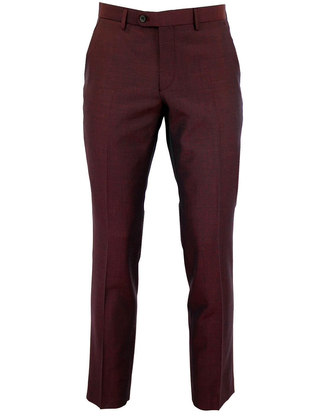 Retro 60s Mod Berry Red Mohair Blend Slim Trousers