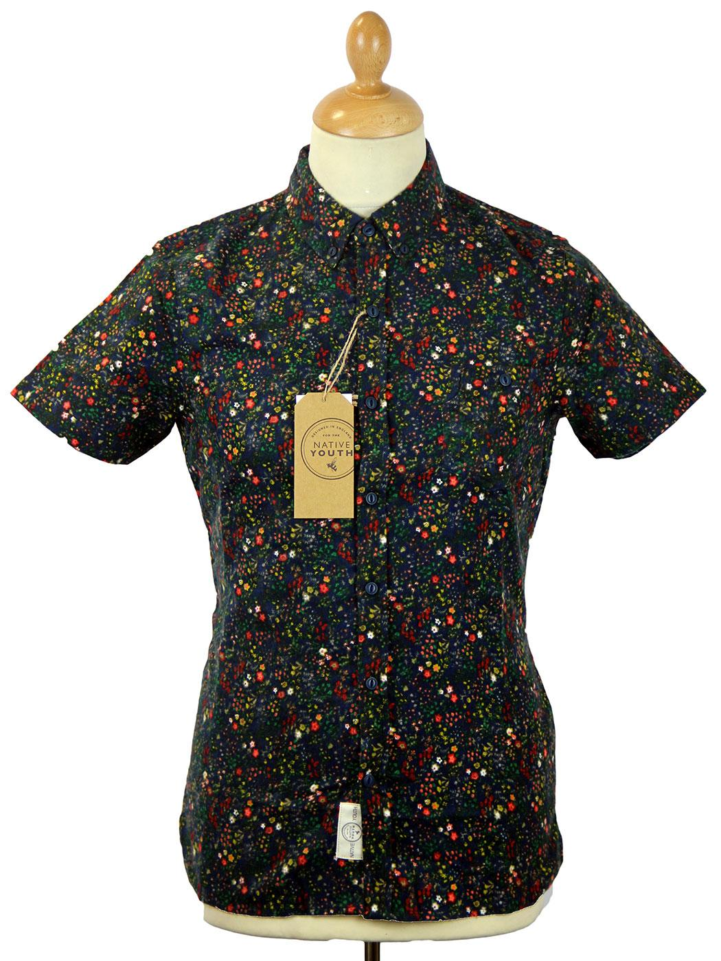 NATIVE YOUTH Retro 60s Ditsy Floral S/S Shirt