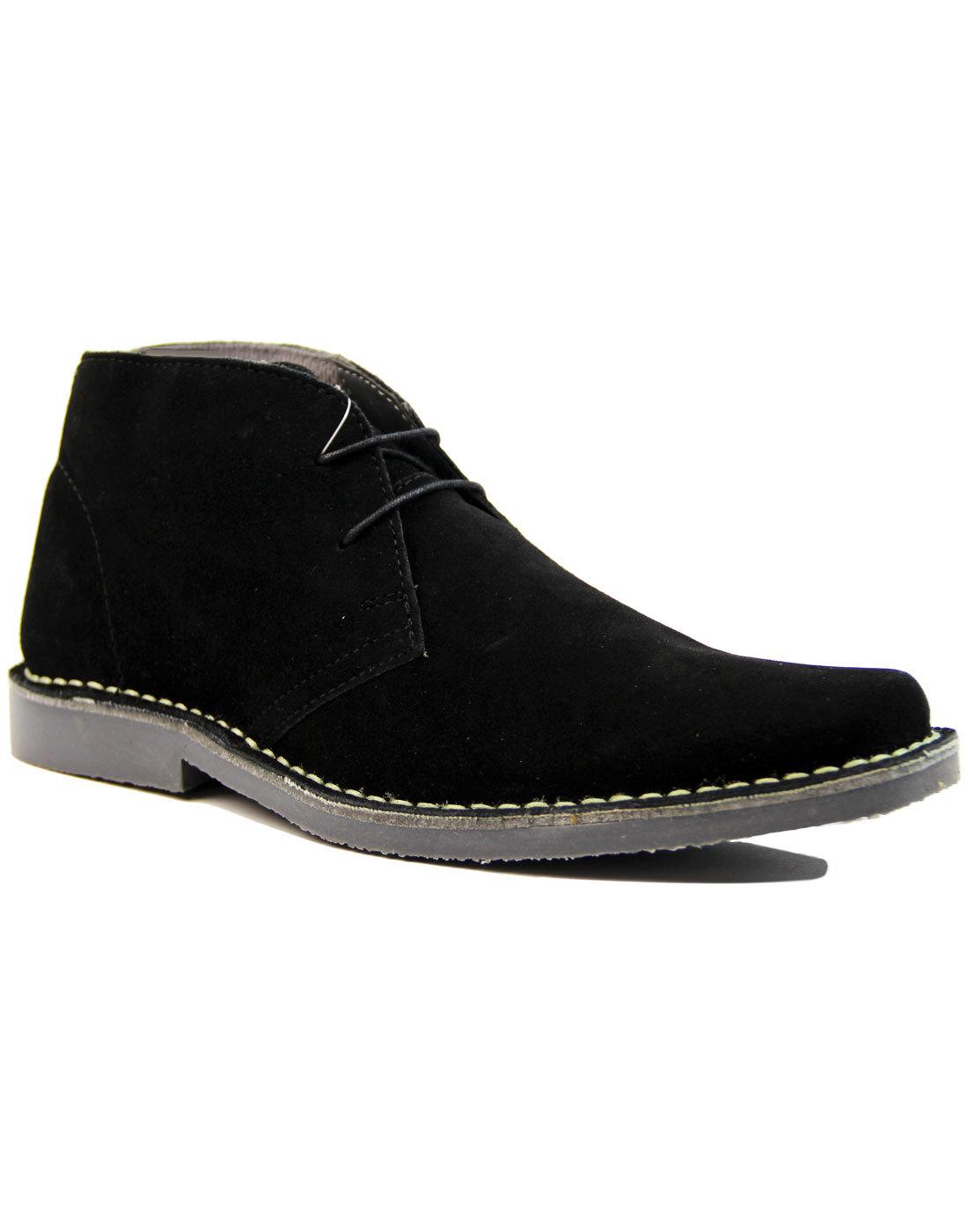 Double Dekker - Mens Mod Suede Desert Boots BLACK