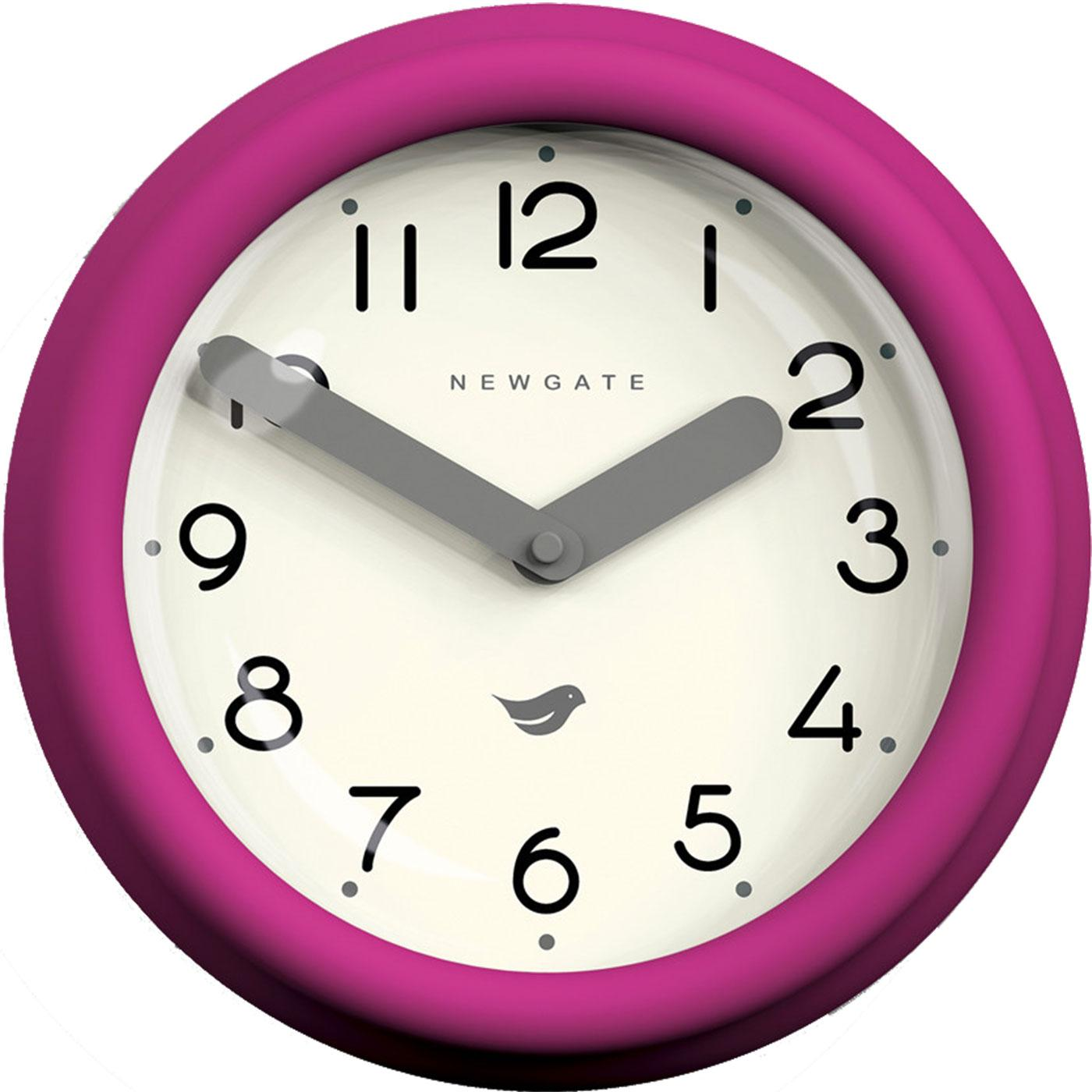 Pantry NEWGATE CLOCKS Retro Wall Clock in Hot Pink