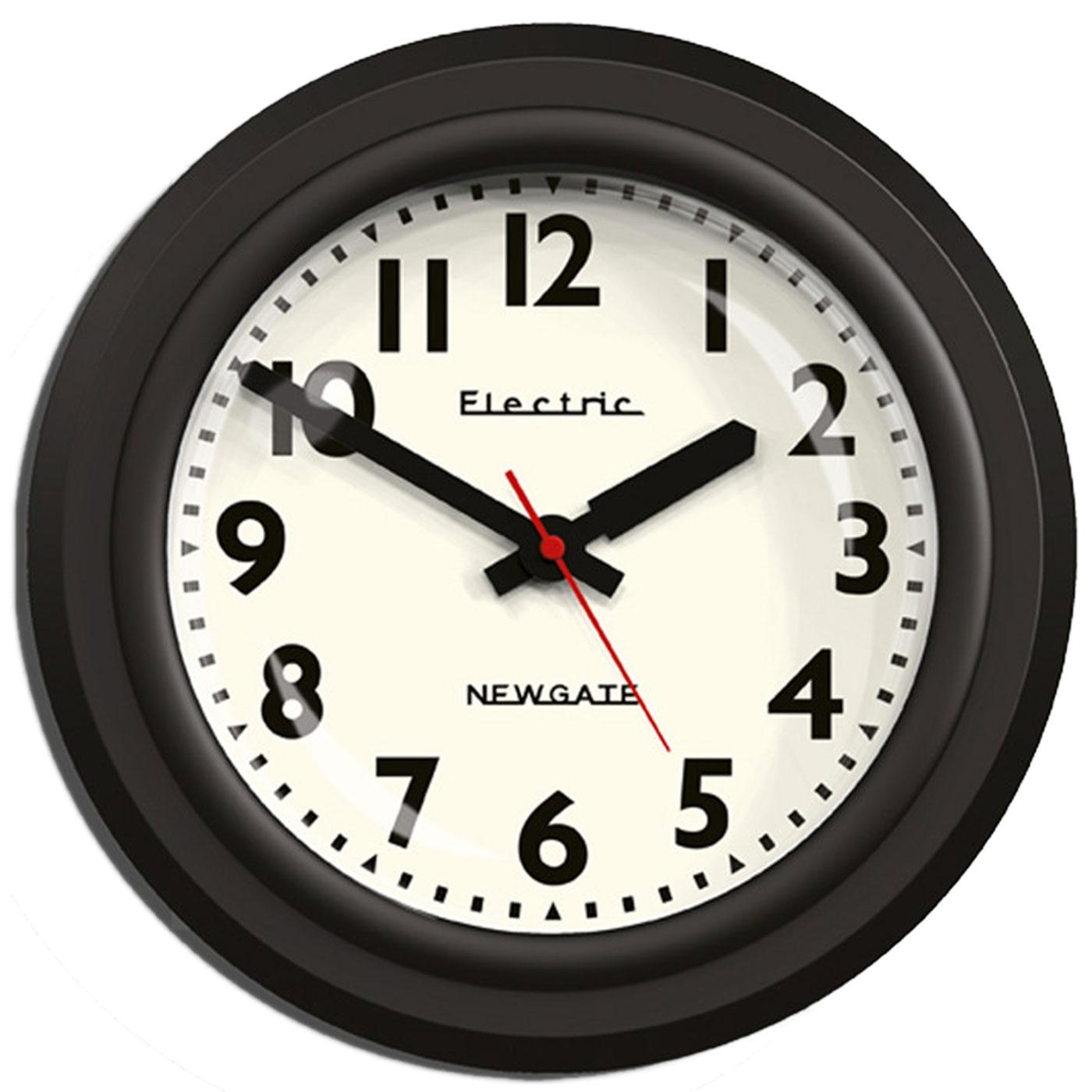 The Telelectric NEWGATE CLOCKS Retro 50s Clock Blk