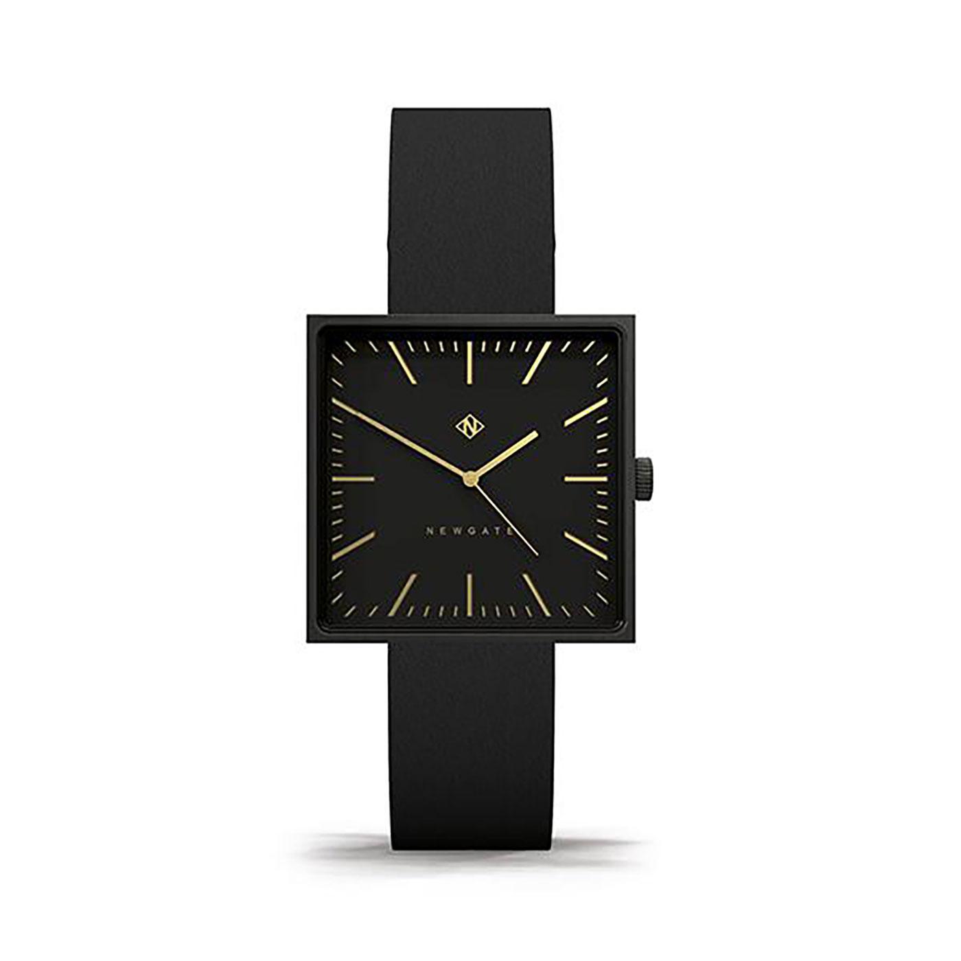 The Cubeline NEWGATE Retro Square Face Watch BLACK
