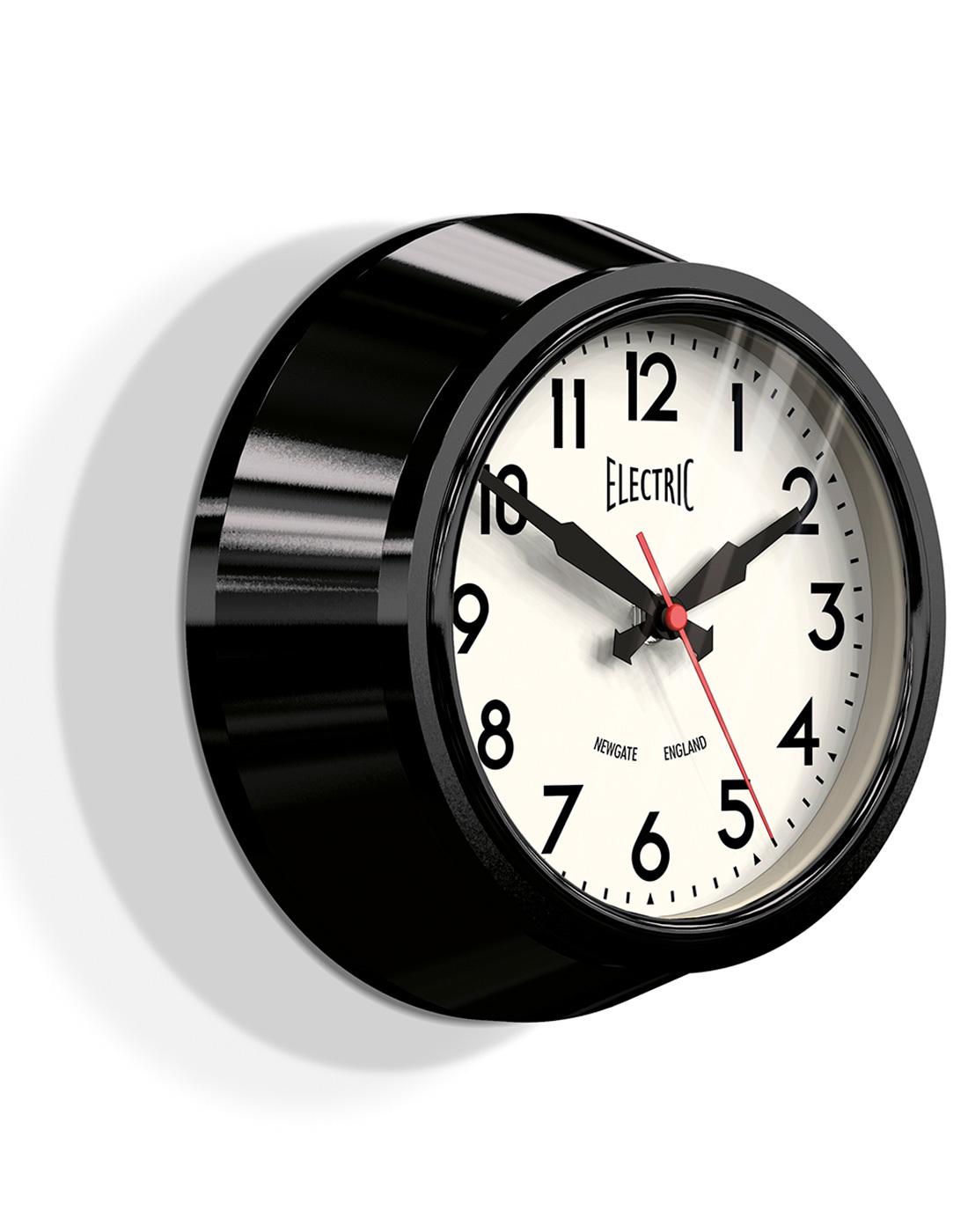newgate electric retro 1960s small wall clock in black. Black Bedroom Furniture Sets. Home Design Ideas