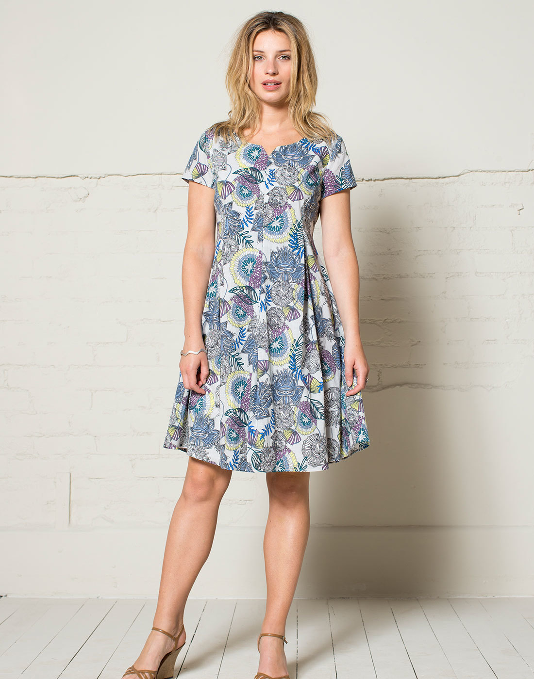 NOMADS Retro 50s Fair Trade Floral Boat Neck Dress