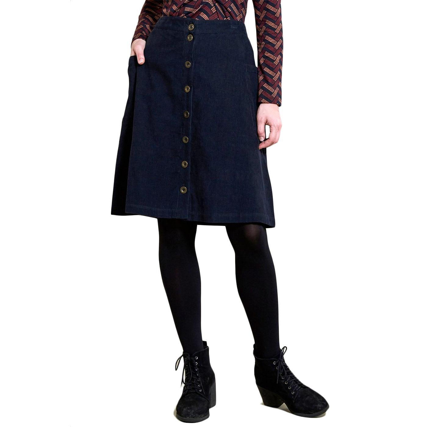 Button Front NOMADS 70s Cord Midi Skirt Navy Blue