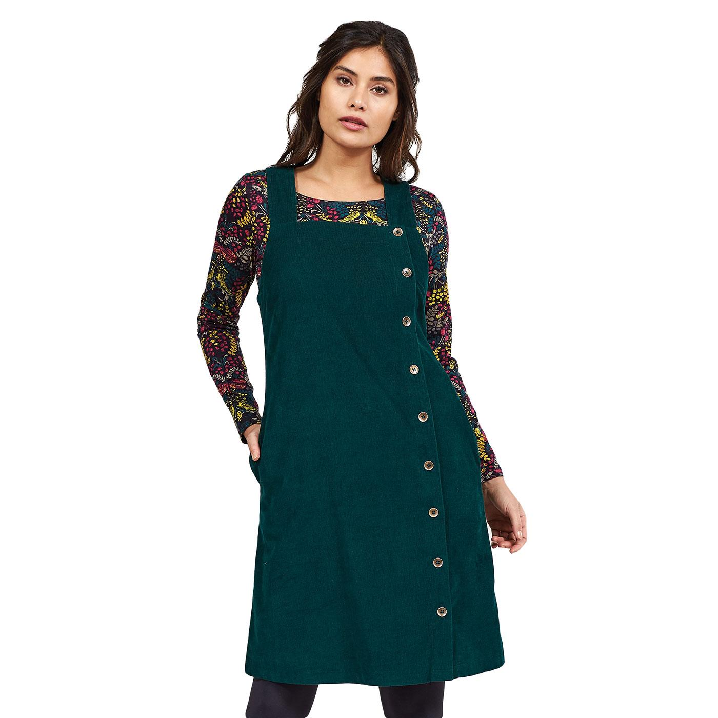 NOMADS Retro 70s Cord Button Pinafore Dress -Green