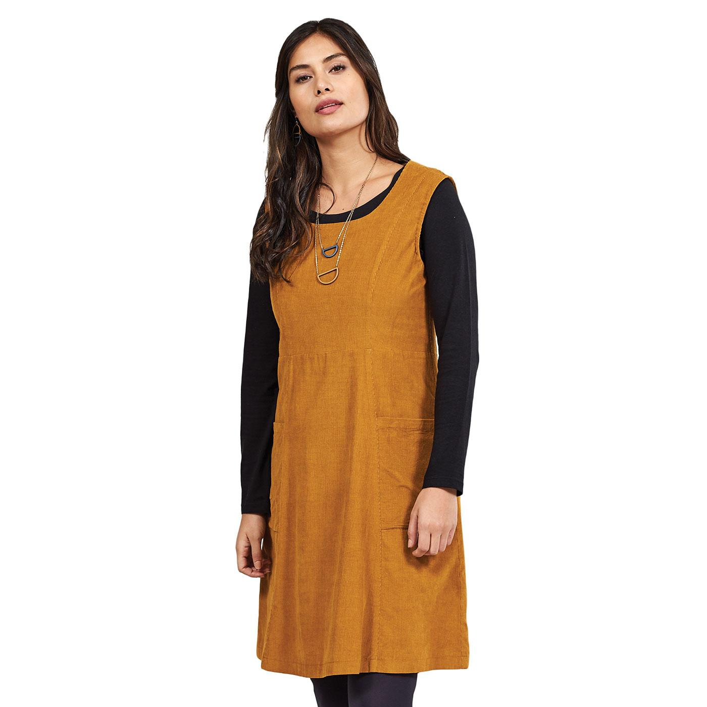 NOMADS Retro 70s Needle Cord A-Line Pinafore Dress