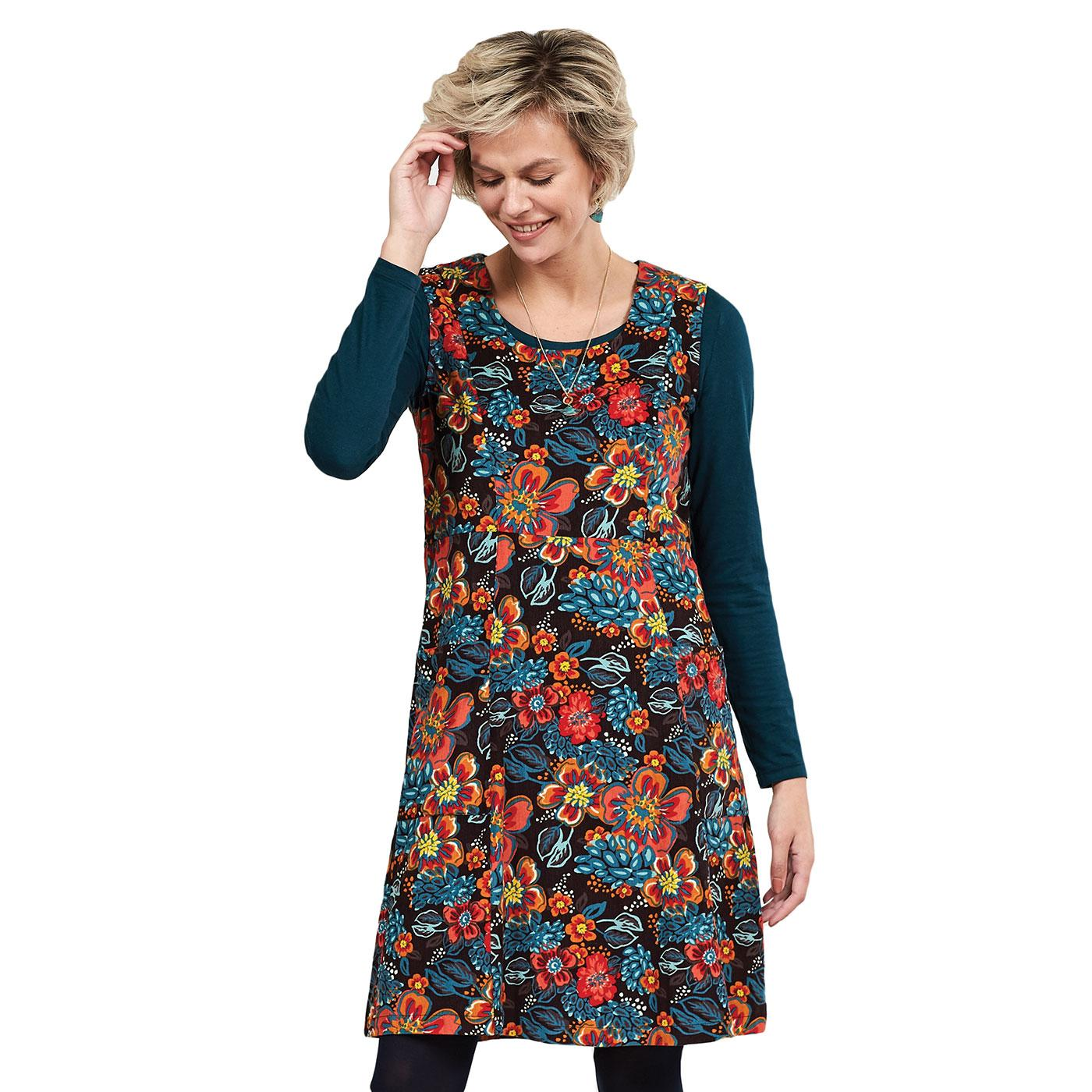 NOMADS Retro 70s Gypsy Print Cord Pinafore Dress