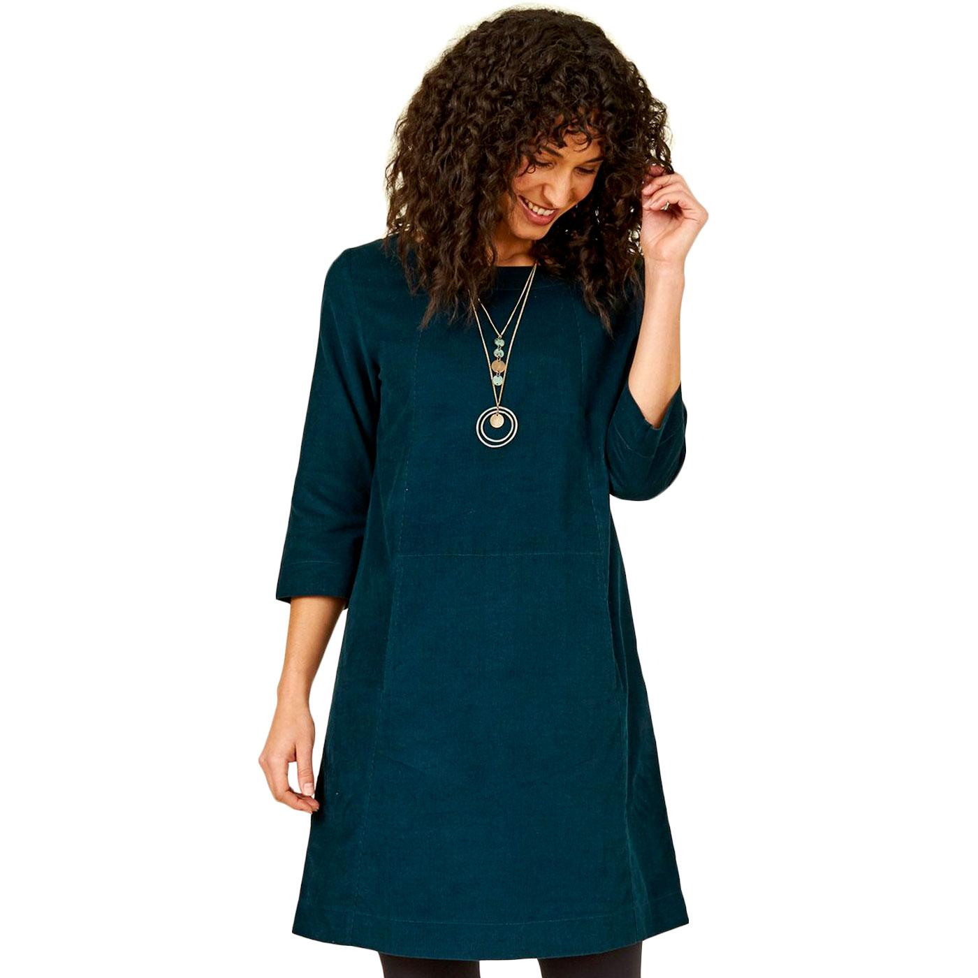 NOMADS Retro 70s Needle Cord Tunic Dress In Fir
