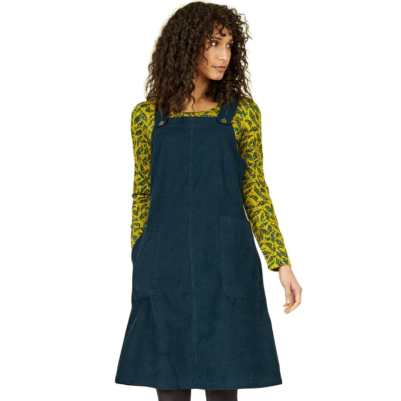 NOMADS Retro 70s Corduroy Dungarees Dress In Fir