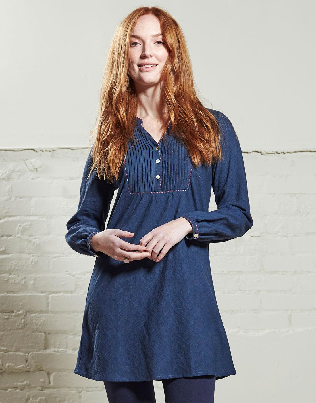 NOMADS Retro 70s Denim Style Pintuck Tunic Shirt