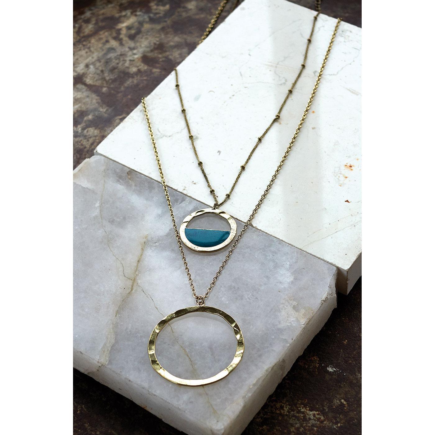 NOMADS Ishana Circle Multi Strand Pendant Necklace