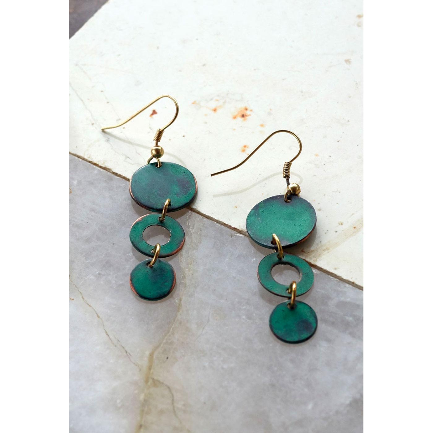 + NOMADS Fair Trade Triple Circle Drop Earrings
