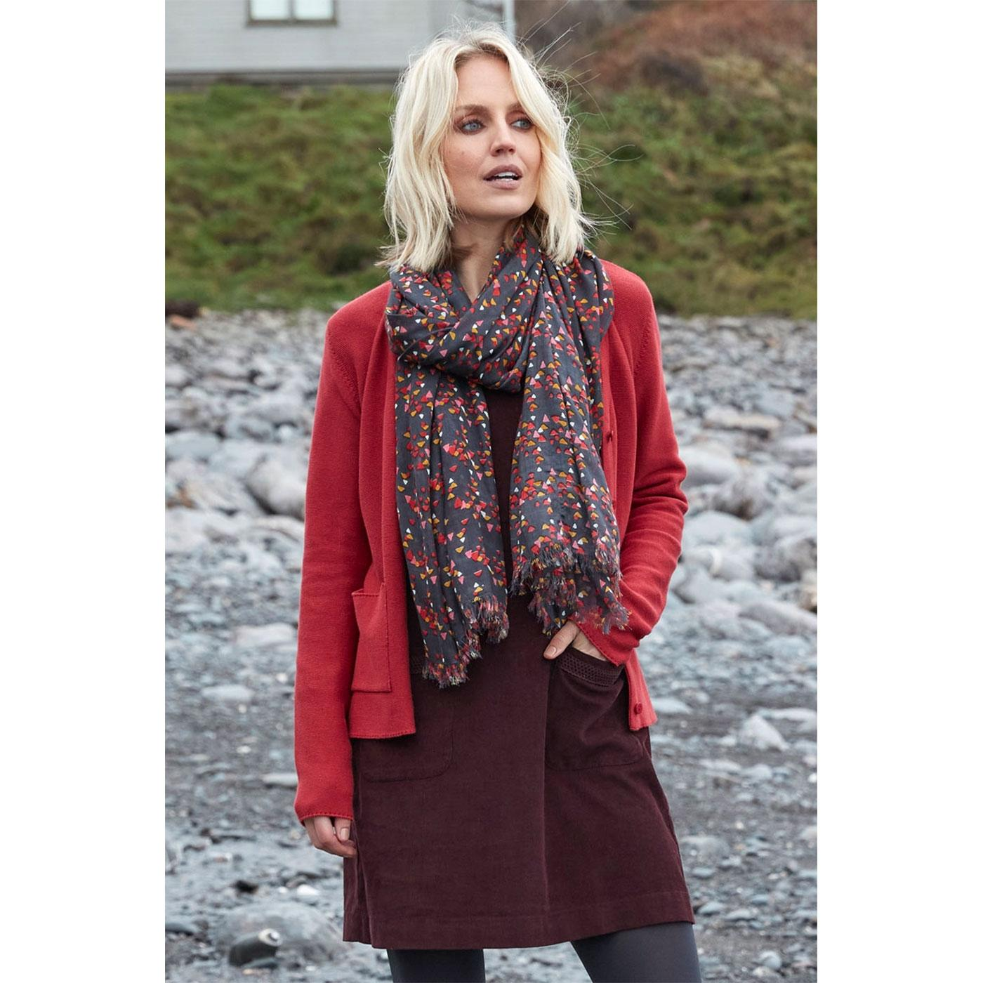 NOMADS Retro Printed Triangle Tassel Scarf in Rock