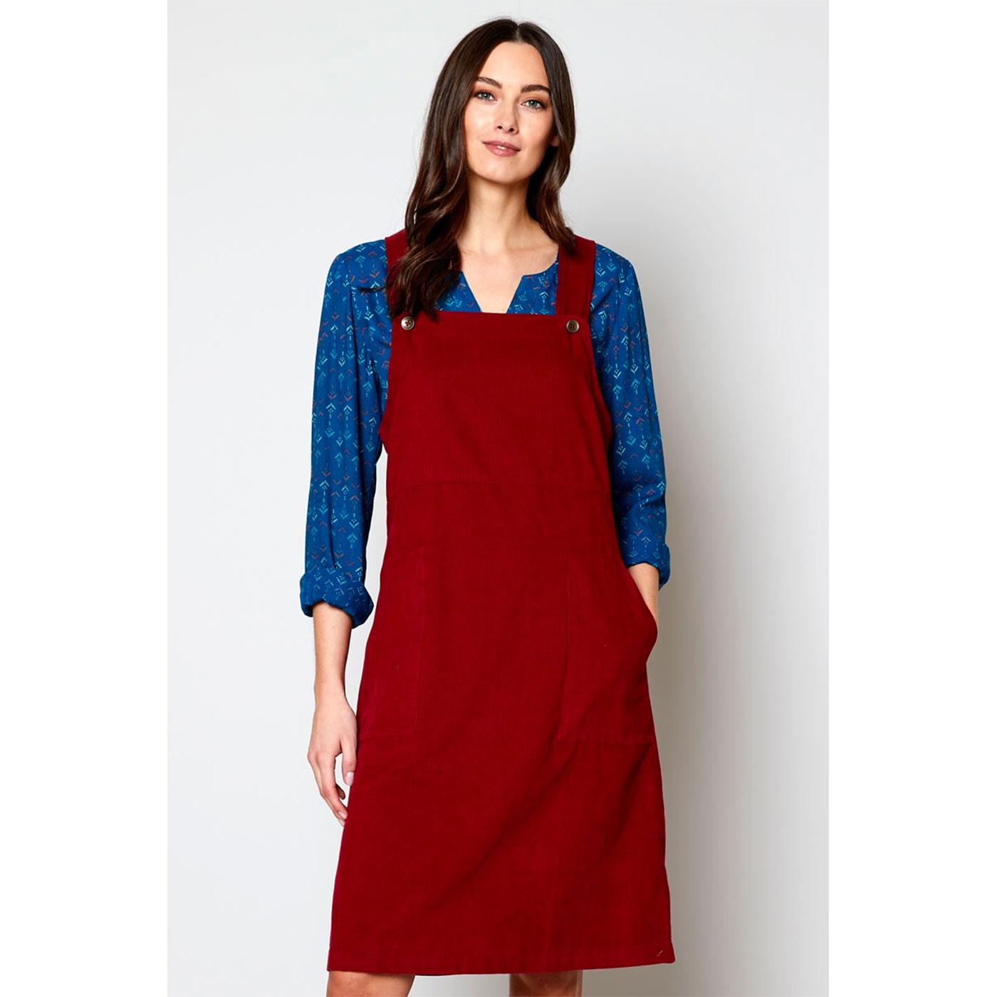 NOMADS Retro 70s Cord Dungaree Dress in Fig Red