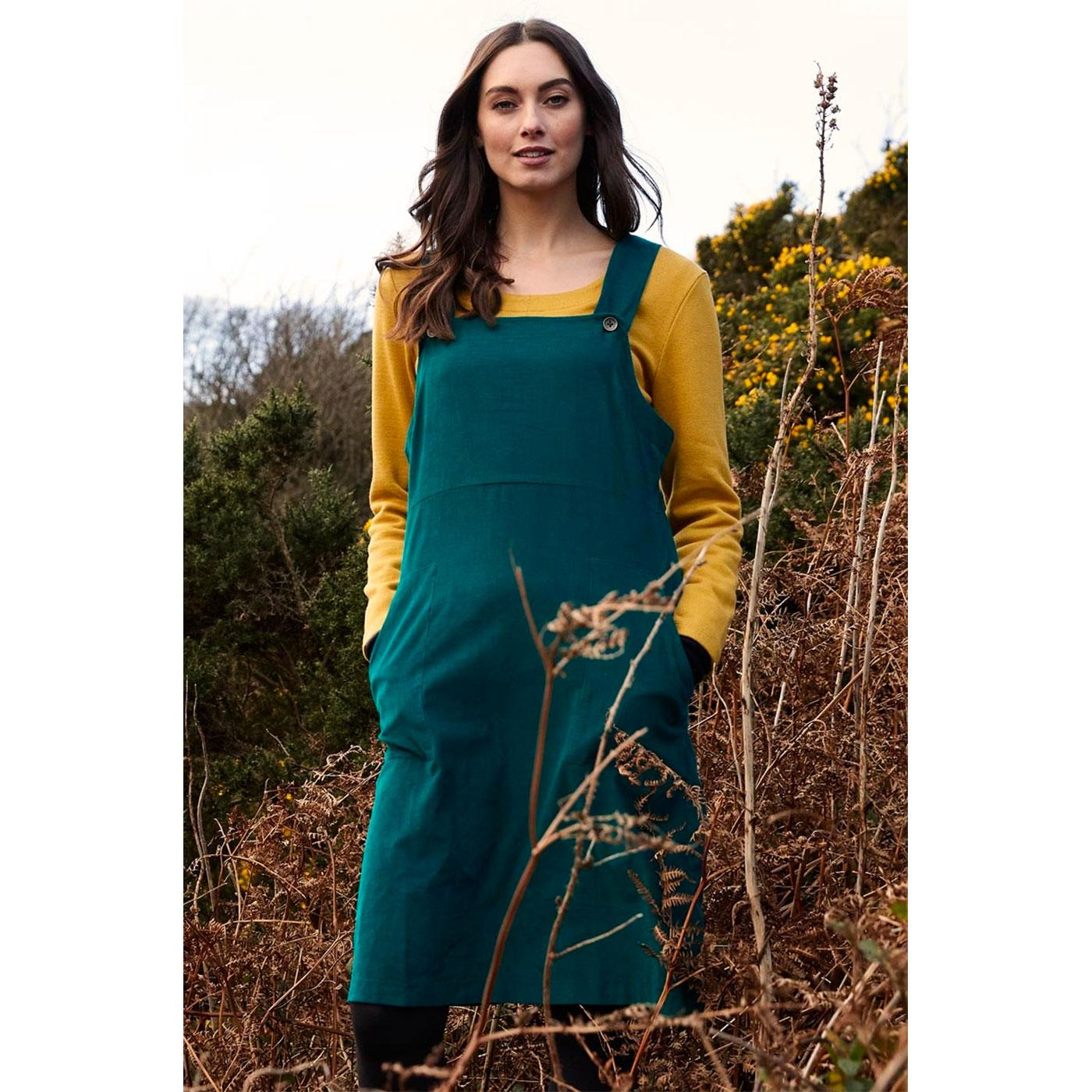 NOMADS Retro 70s Cord Dungaree Dress in Peacock